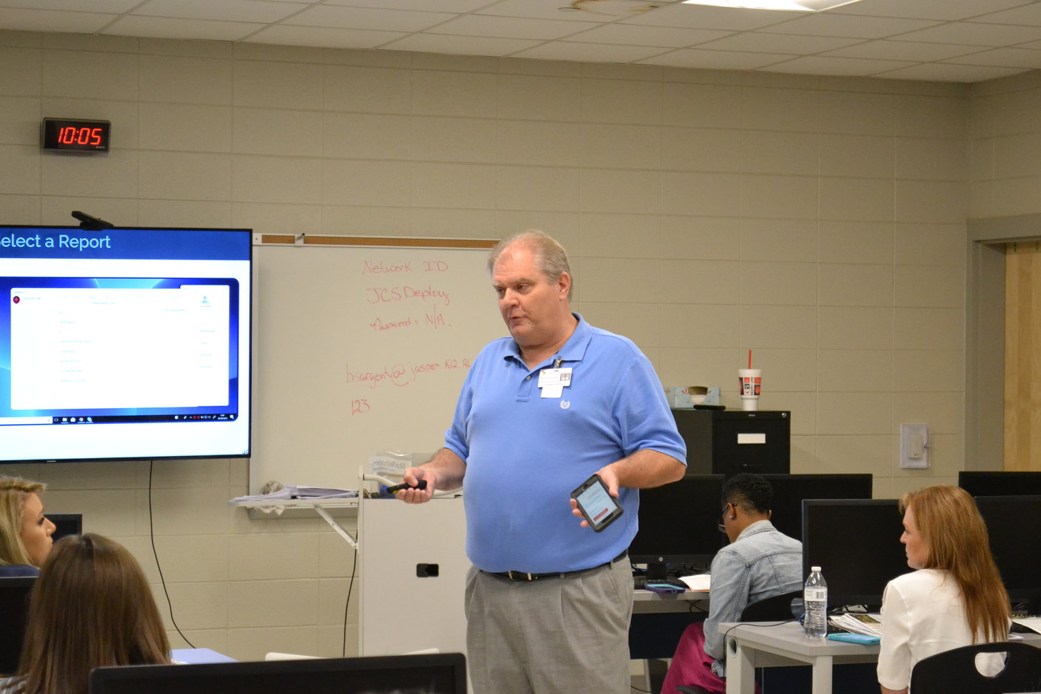 Butch Sargent led a class at Jasper High School on Wednesday, teaching faculty how to use the CrisisGo app.