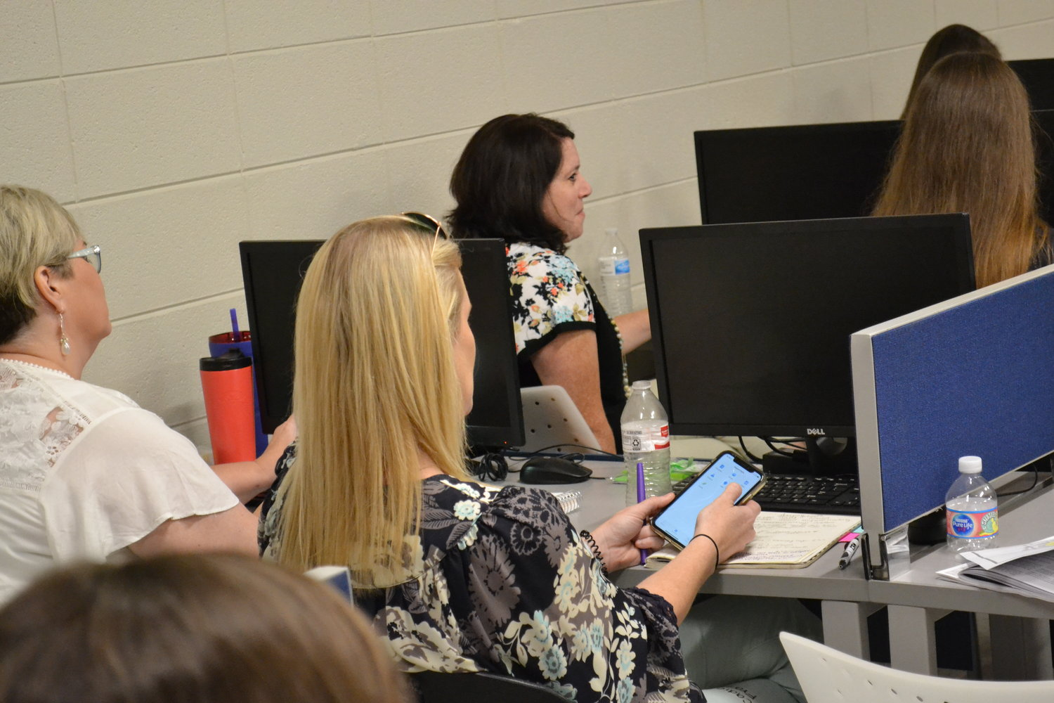 Teachers and faculty at Jasper High School learned how to navigate and use the CrisisGo app on Wednesday.