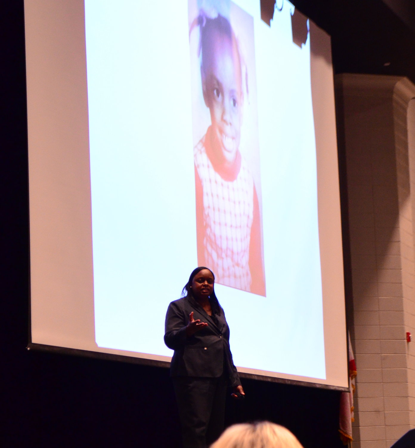 Liz Huntley described her childhood to a crowd at Jasper High School on Wednesday and shared how educators changed her life.