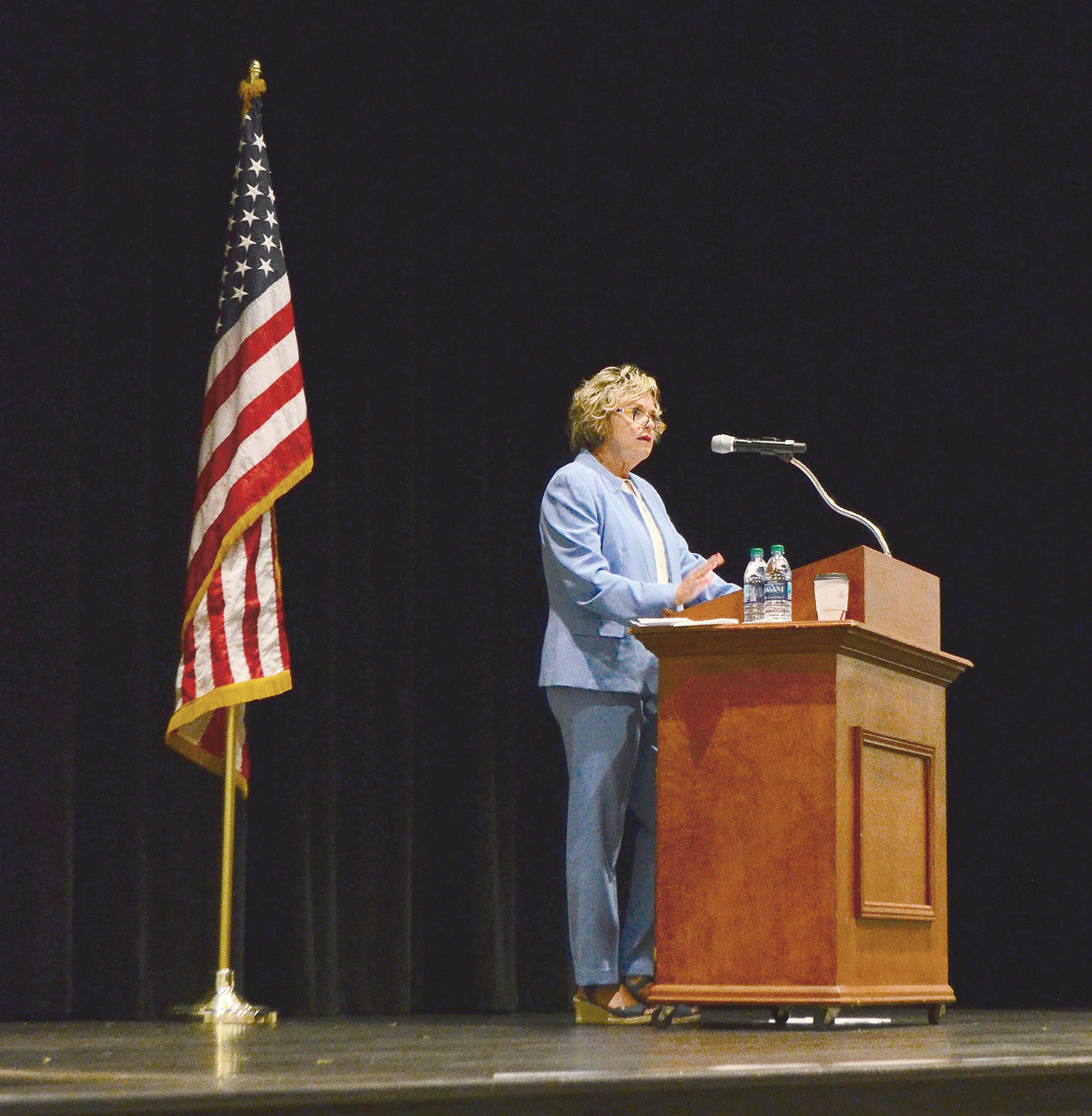 Jasper City Schools Superintendent Dr. Ann Jackson speaks to a crowd of educators on Wednesday.