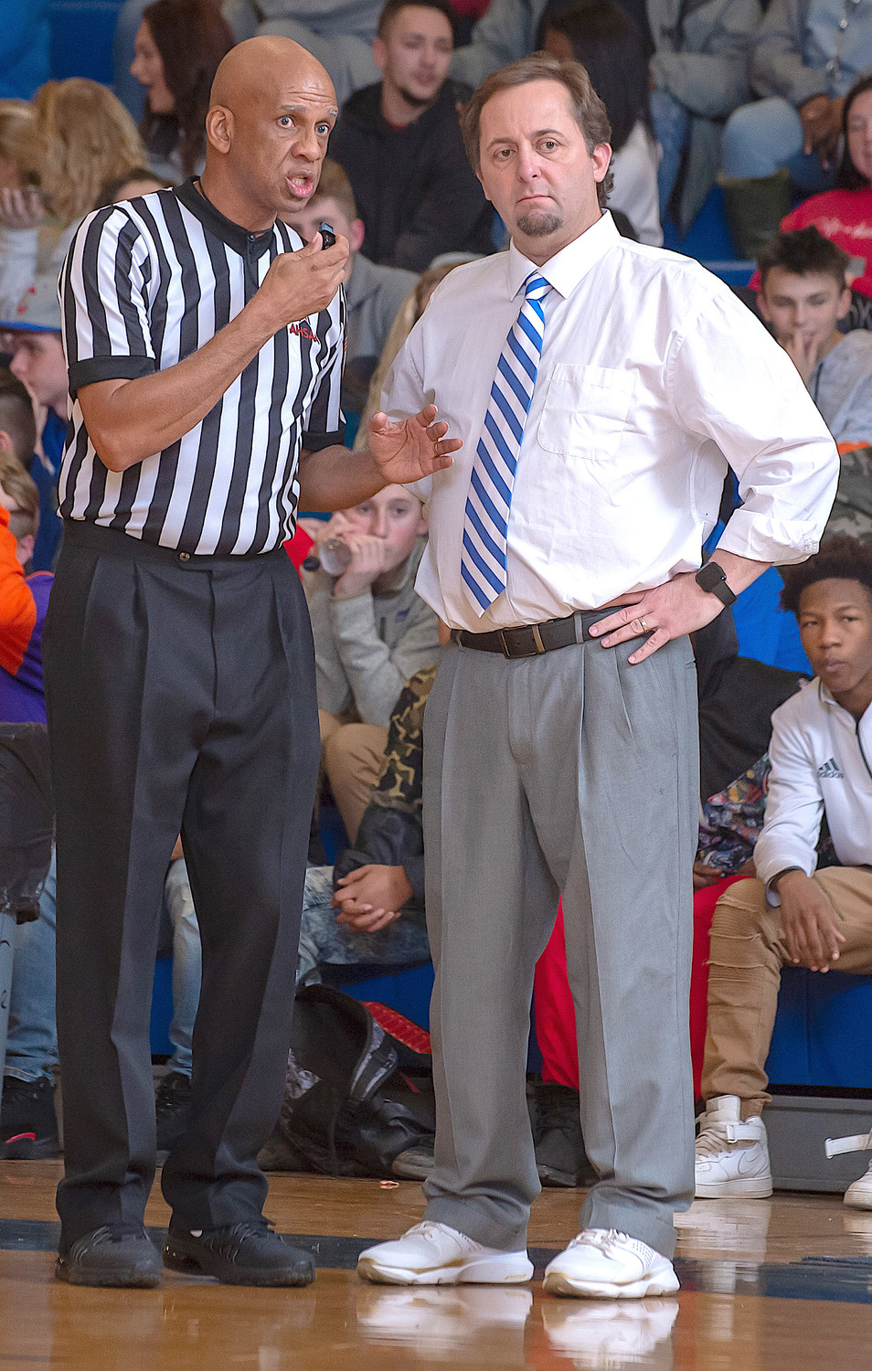 Former Cordova basketball coach Heath Burns directs his team during a game last season. Burns, who led the Blue Devils to a state championship in 2017-18, is now the head boys basketball coach at Hueytown High School.
