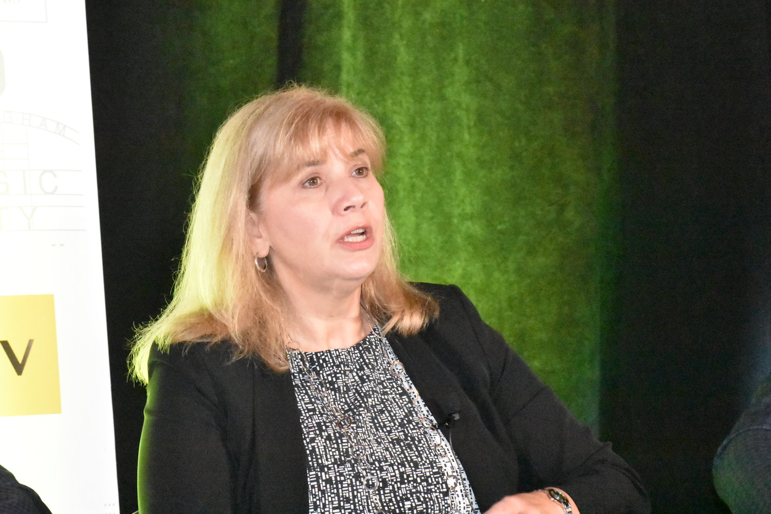 Judy Adams, vice president of marketing for the Alabama State Port Authority in Mobile, spoke as part of an an hour-long panel discussion in Jasper Thursday on the state coal industry.