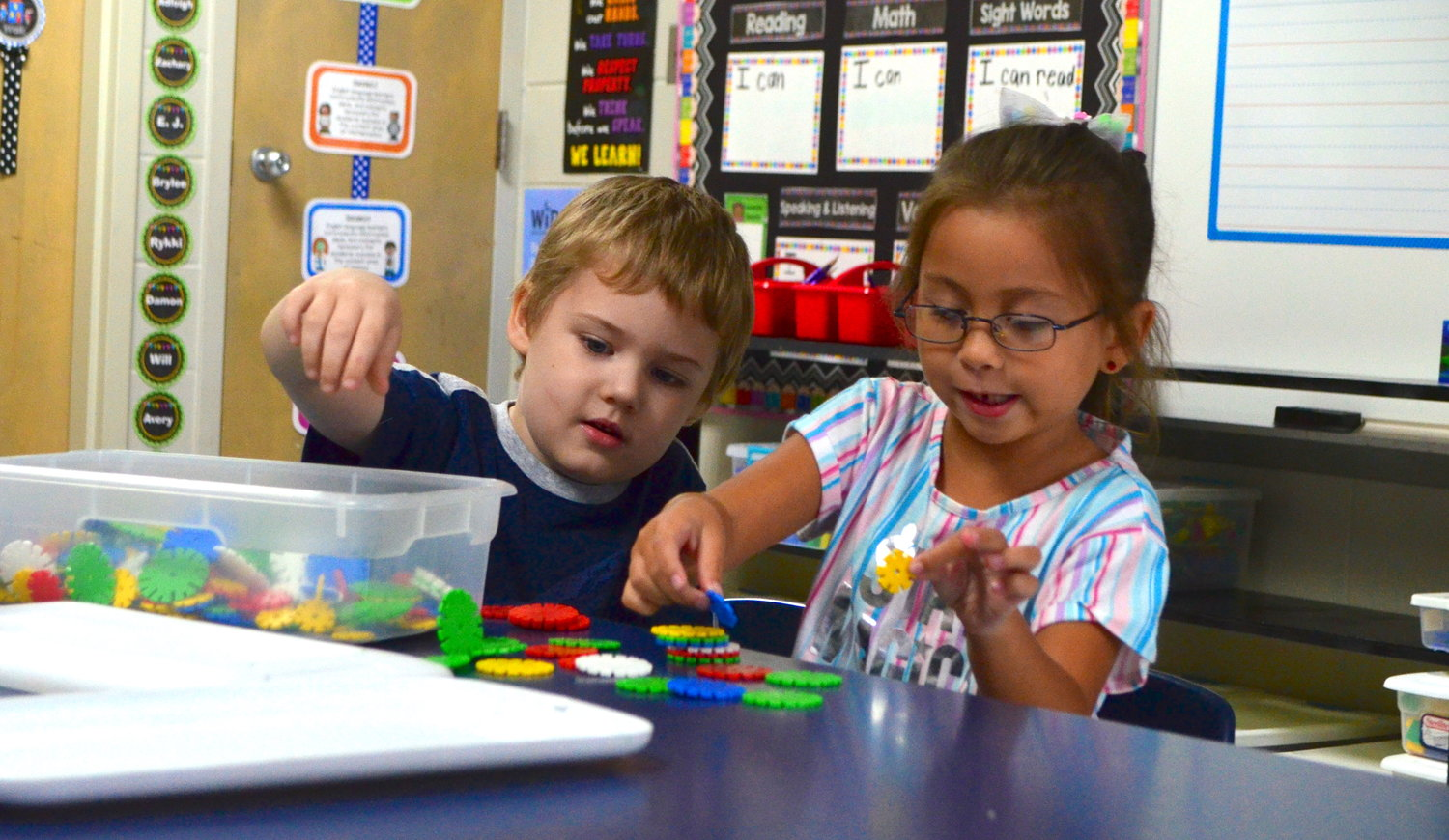 Kindergarten students had their first day at school at T.R. Simmons Elementary on Monday. Children were busy completing STEM (science, technology, engineering and mathematics) activities in some rooms, while other students were practicing their reading skills.