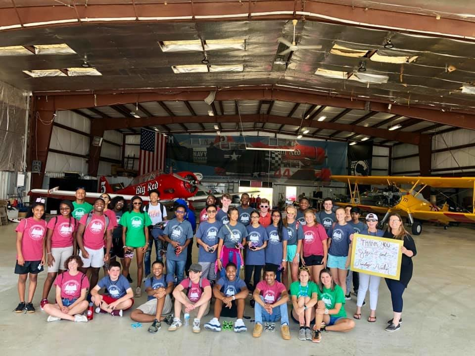 Pictured is one of four groups of students who visited Sanders Aviation in Jasper as part of a Drone Academy.