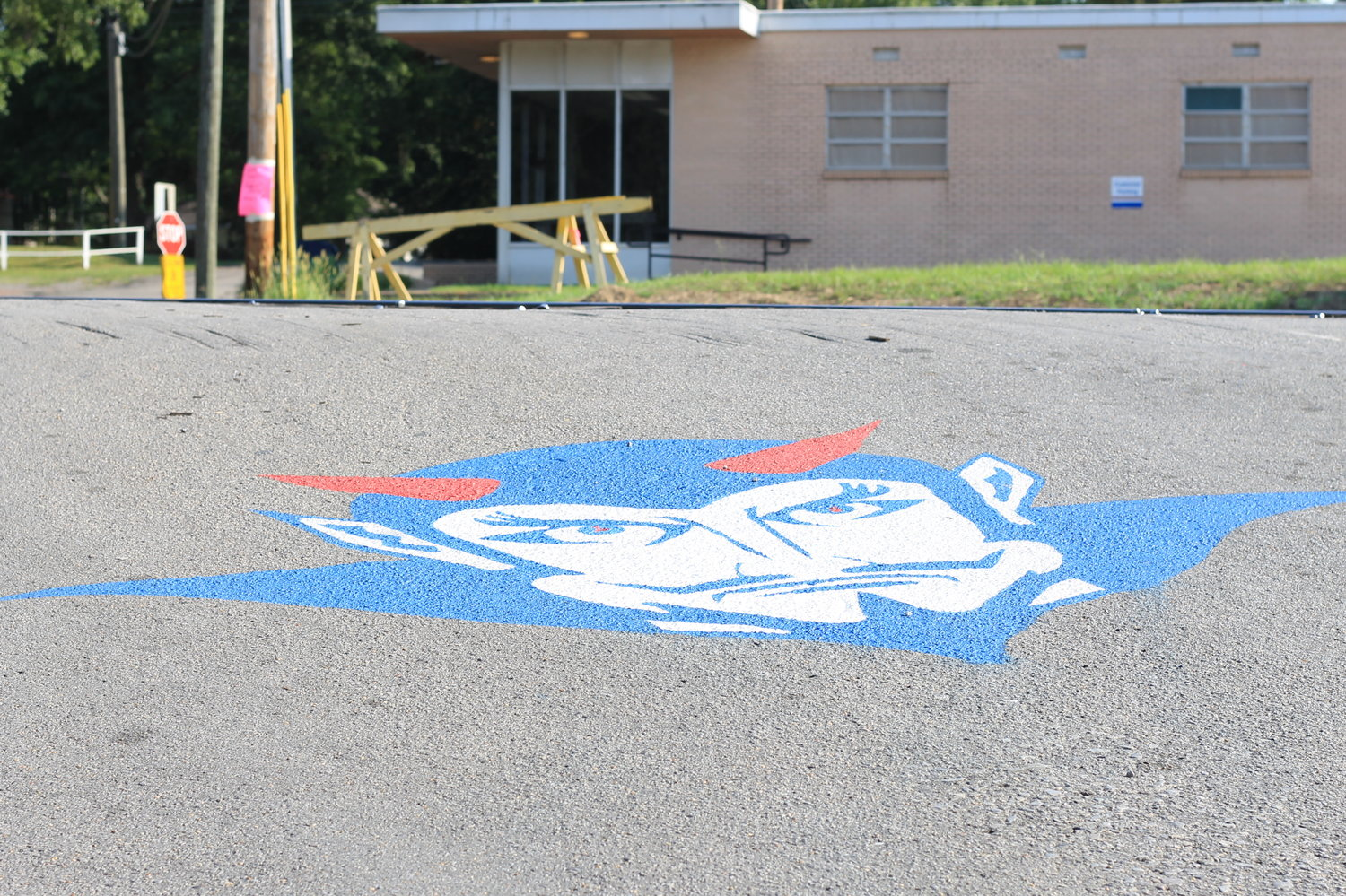 Two Blue Devil faces have been painted in Cordova in advance of the upcoming football season.