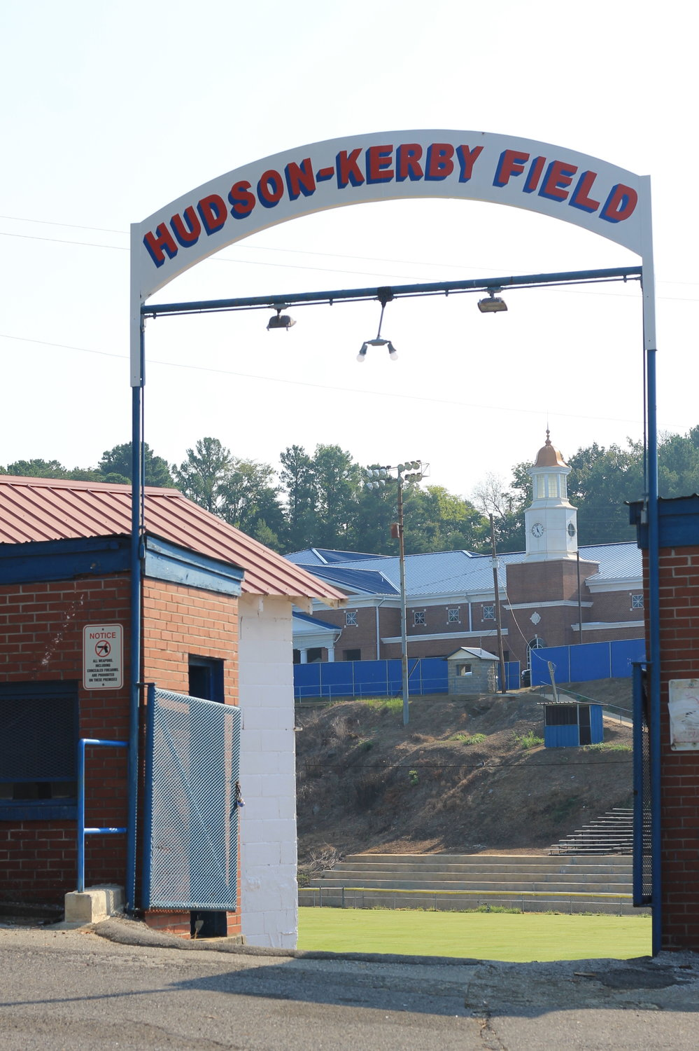 The sign at Hudson-Kerby Field was taken down and repainted over the summer.