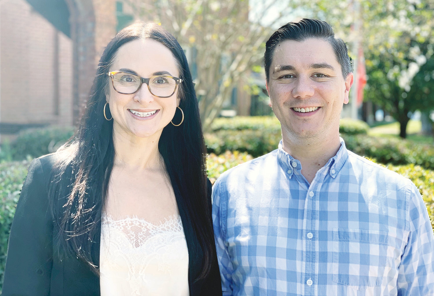 Tana-Collins Allred and Andrew Brasfield represent the Bevill State Community College public relations team that has won eight awards for their efforts to promote the college.
