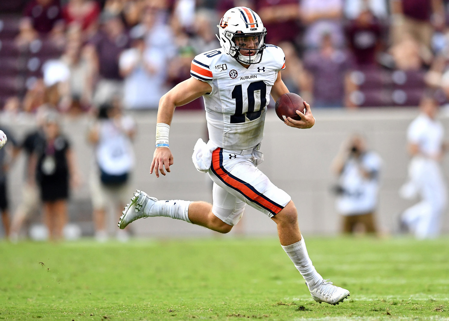 Auburn Tigers quarterback Bo Nix (10) with a keeper late in the fourth quarter of an NCAA football game between the Texas A&M Aggies and the Tigers Saturday, Sept. 21, 2019, at Kyle Field in College Station Texas. Auburn wins 28-20.