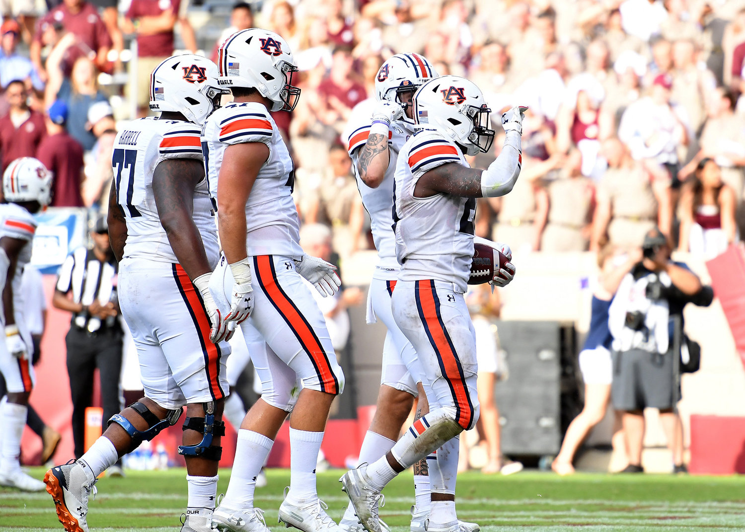 Auburn Tigers running back JaTarvious Whitlow (28) celebrates his touchdown during fourth quarter of an NCAA football game against the Texas A&M Aggies Saturday, Sept. 21, 2019, at Kyle Field in College Station Texas. Auburn wins 28-20.