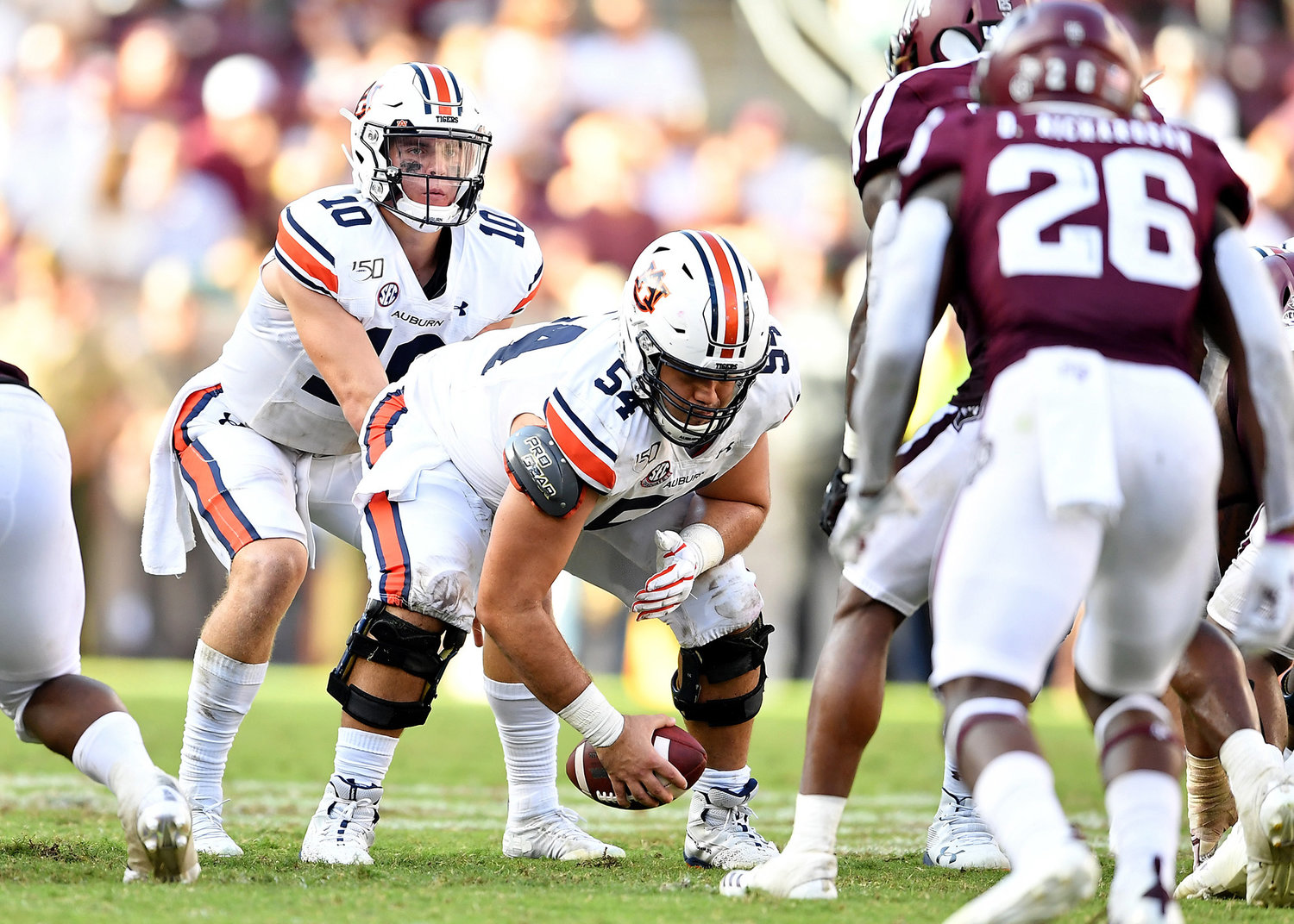 Auburn Tigers quarterback Bo Nix (10) prepares to take the snap during the second half of an NCAA football game against the Texas A&M Aggies Saturday, Sept. 21, 2019, at Kyle Field in College Station Texas. Auburn wins 28-20.