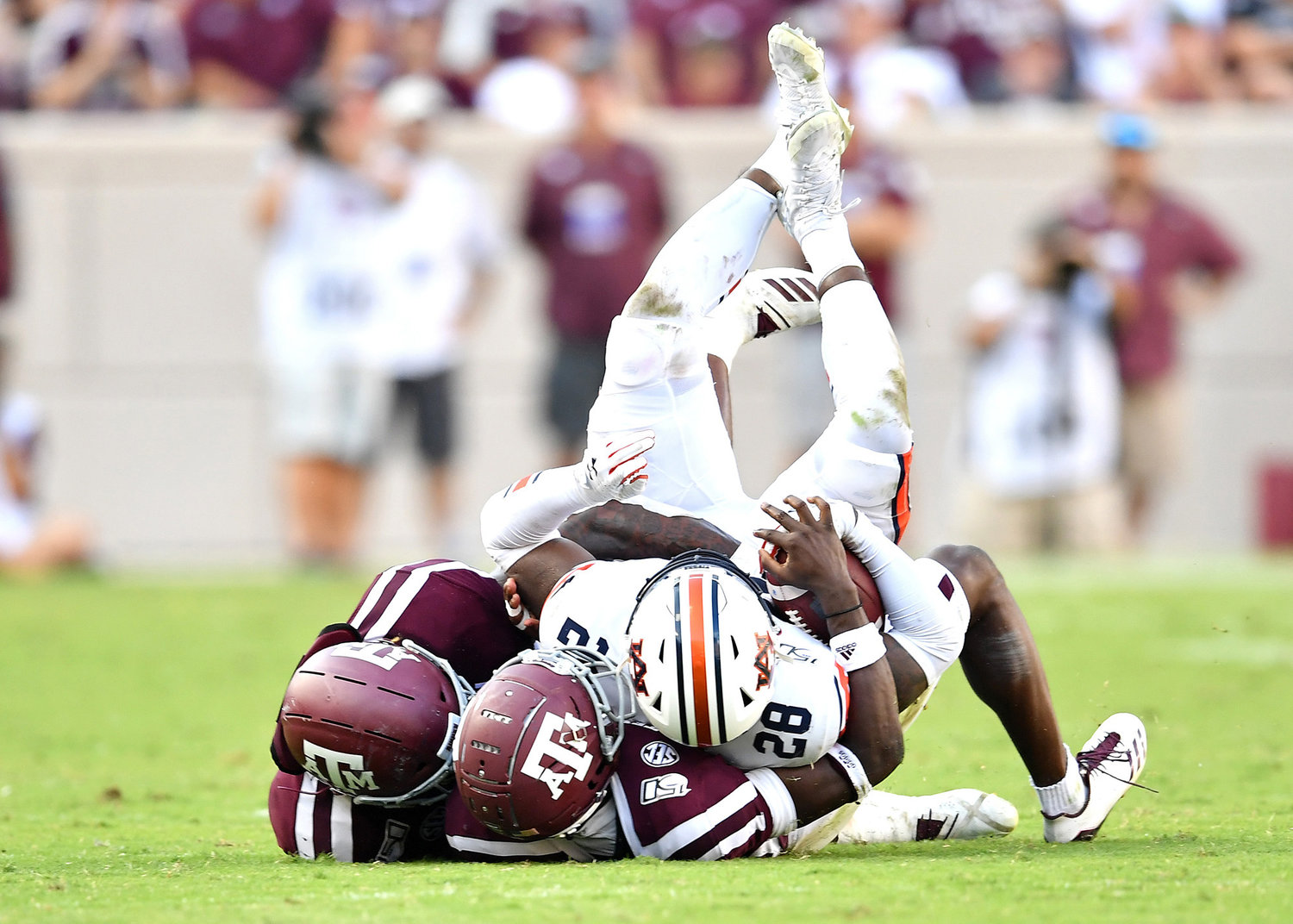 Auburn Tigers running back JaTarvious Whitlow (28) in action during the second half of an NCAA football game against the Texas A&M Aggies Saturday, Sept. 21, 2019, at Kyle Field in College Station Texas. Auburn wins 28-20.