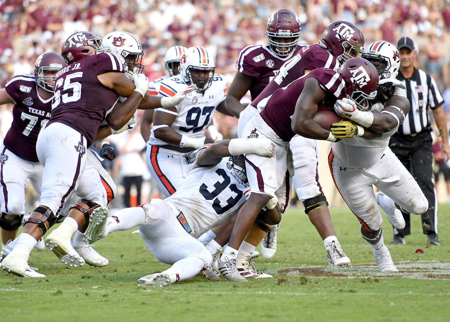 From the second half of an NCAA football game between the Texas A&M Aggies and the Auburn Tigers Saturday, Sept. 21, 2019, at Kyle Field in College Station Texas. Auburn wins 28-20.