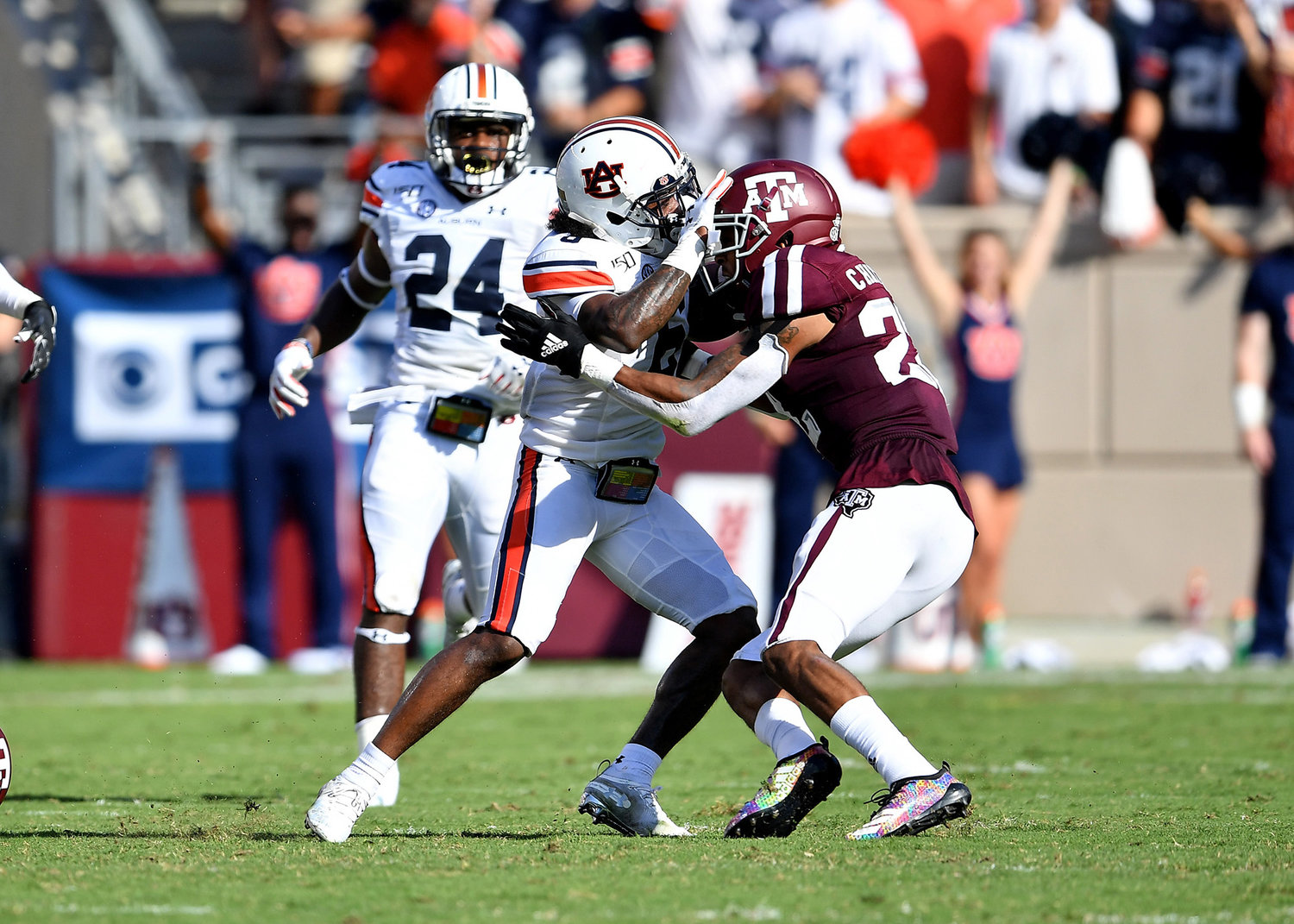 Auburn Tigers wide receiver Ja'Varrius Johnson (6) tries to push off a Texas A&M Aggies player during the second half of an NCAA football game Saturday, Sept. 21, 2019, at Kyle Field in College Station Texas. Auburn wins 28-20.