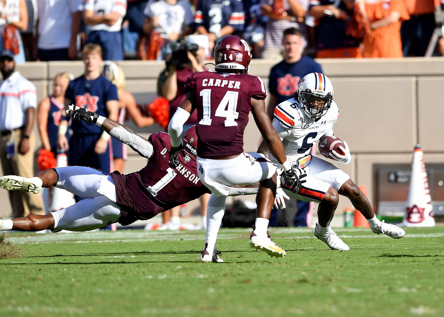 Auburn Tigers wide receiver Ja'Varrius Johnson (6) looks for room to run during the second half of an NCAA football game between the Texas A&M Aggies and the Tigers Saturday, Sept. 21, 2019, at Kyle Field in College Station Texas. Auburn wins 28-20.
