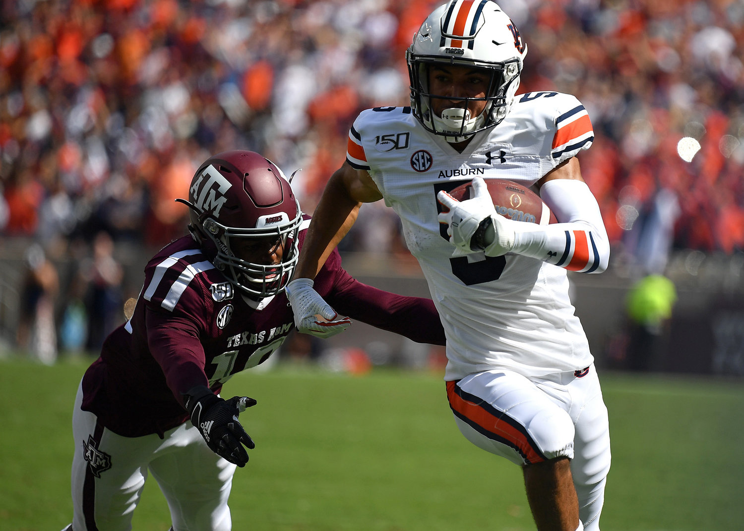 Auburn Tigers wide receiver Anthony Schwartz (5) on a run during the first half of an NCAA football game against the Texas A&M Aggies Saturday, Sept. 21, 2019, at Kyle Field in College Station Texas. Auburn wins 28-20.