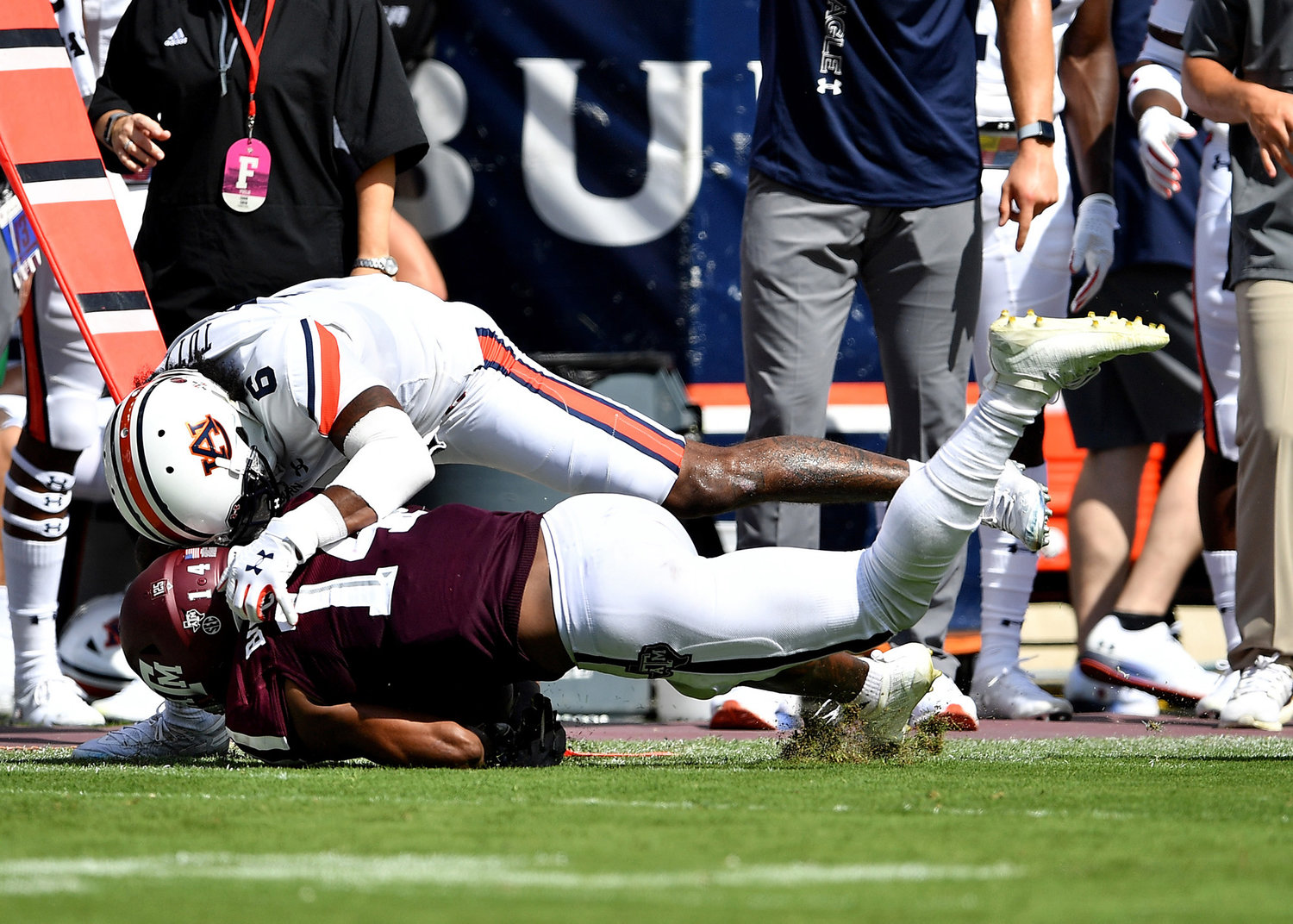 Auburn Tigers defensive back Christian Tutt (6) with a tackle during the first half of an NCAA football game against the Texas A&M Aggies Saturday, Sept. 21, 2019, at Kyle Field in College Station Texas. Auburn wins 28-20.