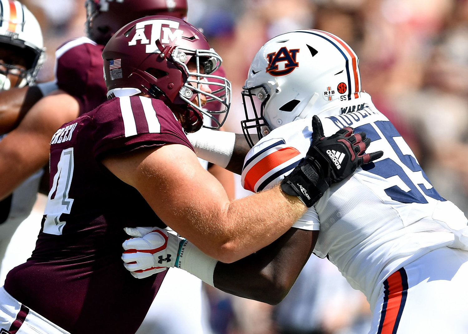 Auburn Tigers defensive end T.D. Moultry (55) in action during the first half of an NCAA football game against the Texas A&M Aggies Saturday, Sept. 21, 2019, at Kyle Field in College Station Texas. Auburn wins 28-20.