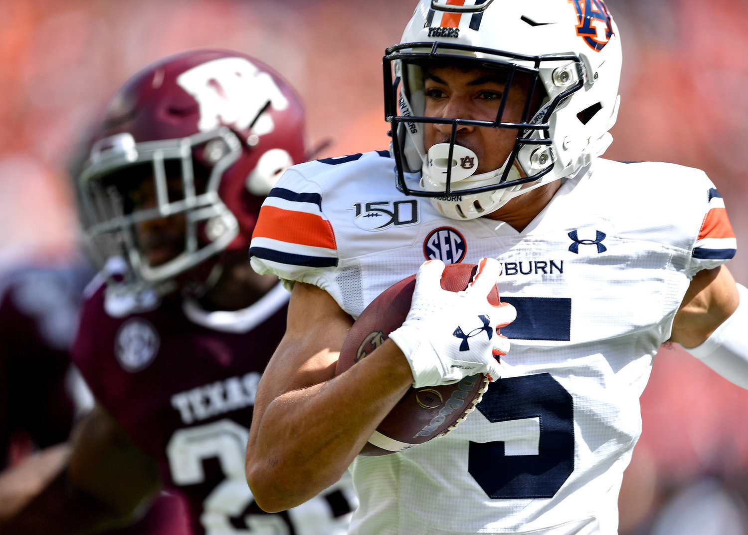 Auburn Tigers wide receiver Anthony Schwartz (5) on his way to a touchdown in the first quarter an NCAA football game between the Texas A&M Aggies and the Tigers Saturday, Sept. 21, 2019, at Kyle Field in College Station Texas. Auburn wins 28-20.
