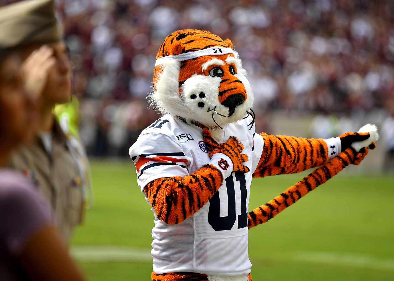 Aubbie is seen during the National Anthem and prior to the start of an NCAA football game between the Texas A&M Aggies and the Auburn Tigers Saturday, Sept. 21, 2019, at Kyle Field in College Station Texas. Auburn wins 28-20.