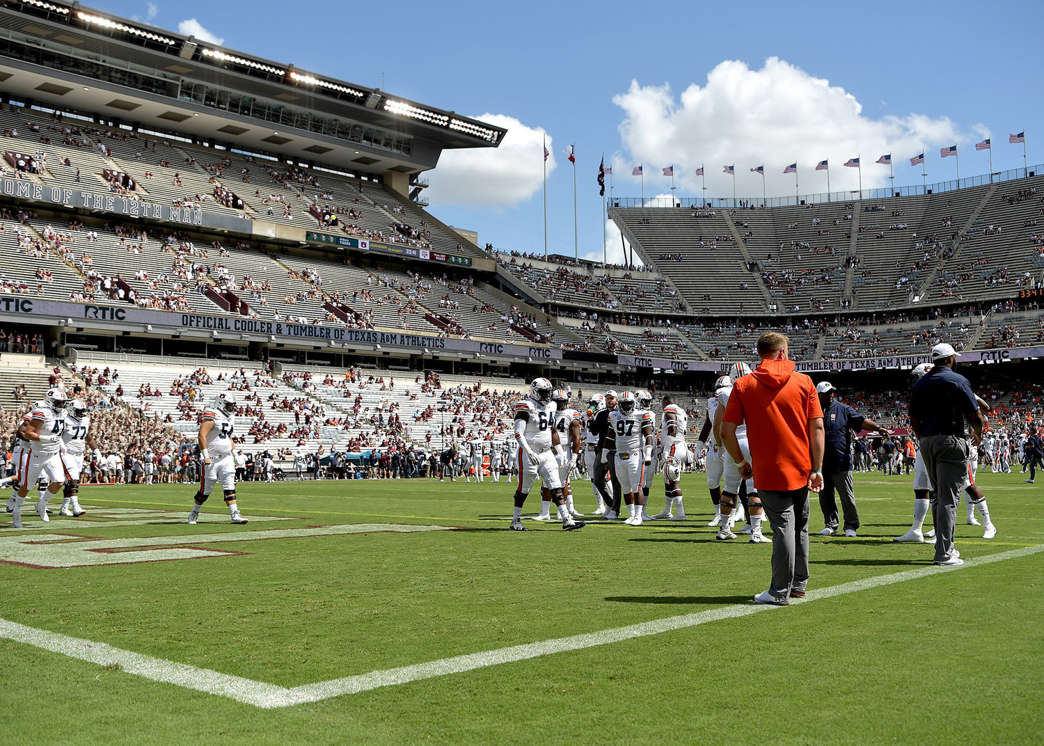 The Auburn Tigers warm up prior to the start of an NCAA football game between the Texas A&M Aggies and the Tigers Saturday, Sept. 21, 2019, at Kyle Field in College Station Texas. Auburn wins 28-20.