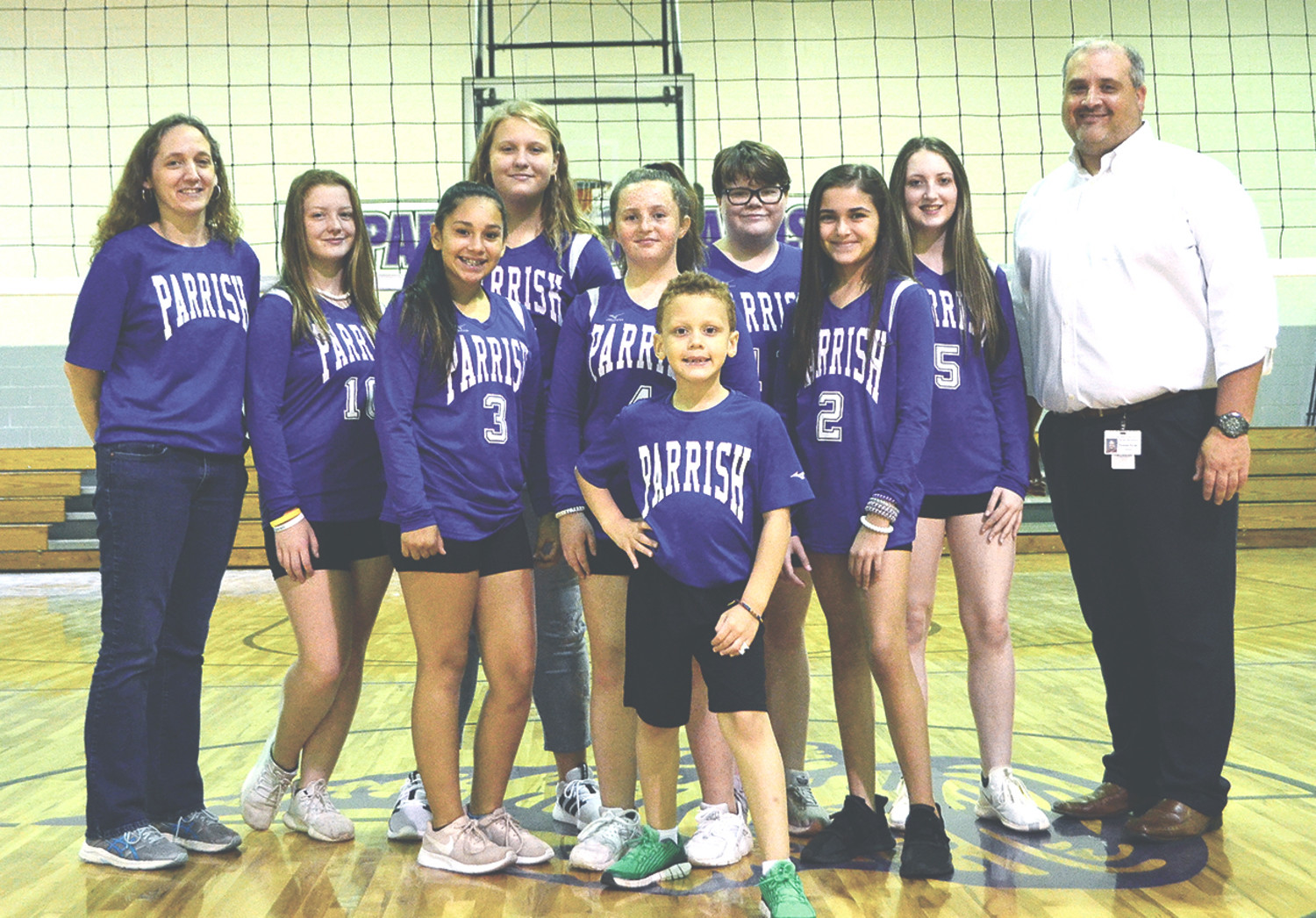Parrish Elementary School recently completed its first volleyball season. Members of the team are Ciara Stanton, Zowy Poe, Emma Williams, Sarah Pate, Sarah Beth Sanford, Gillian Hare, and Makale Harper. The teams is coached by Krista Woods.  Jonah Woods is the team manager.