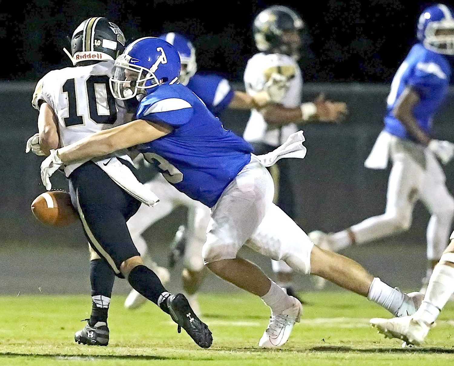 Carbon Hill's Alex Atkins (3) causes a fumble late in Friday night's home game against Lamar County. Atkins had 17 tackles, including a sack and four tackles for loss in the 34-20 victory.