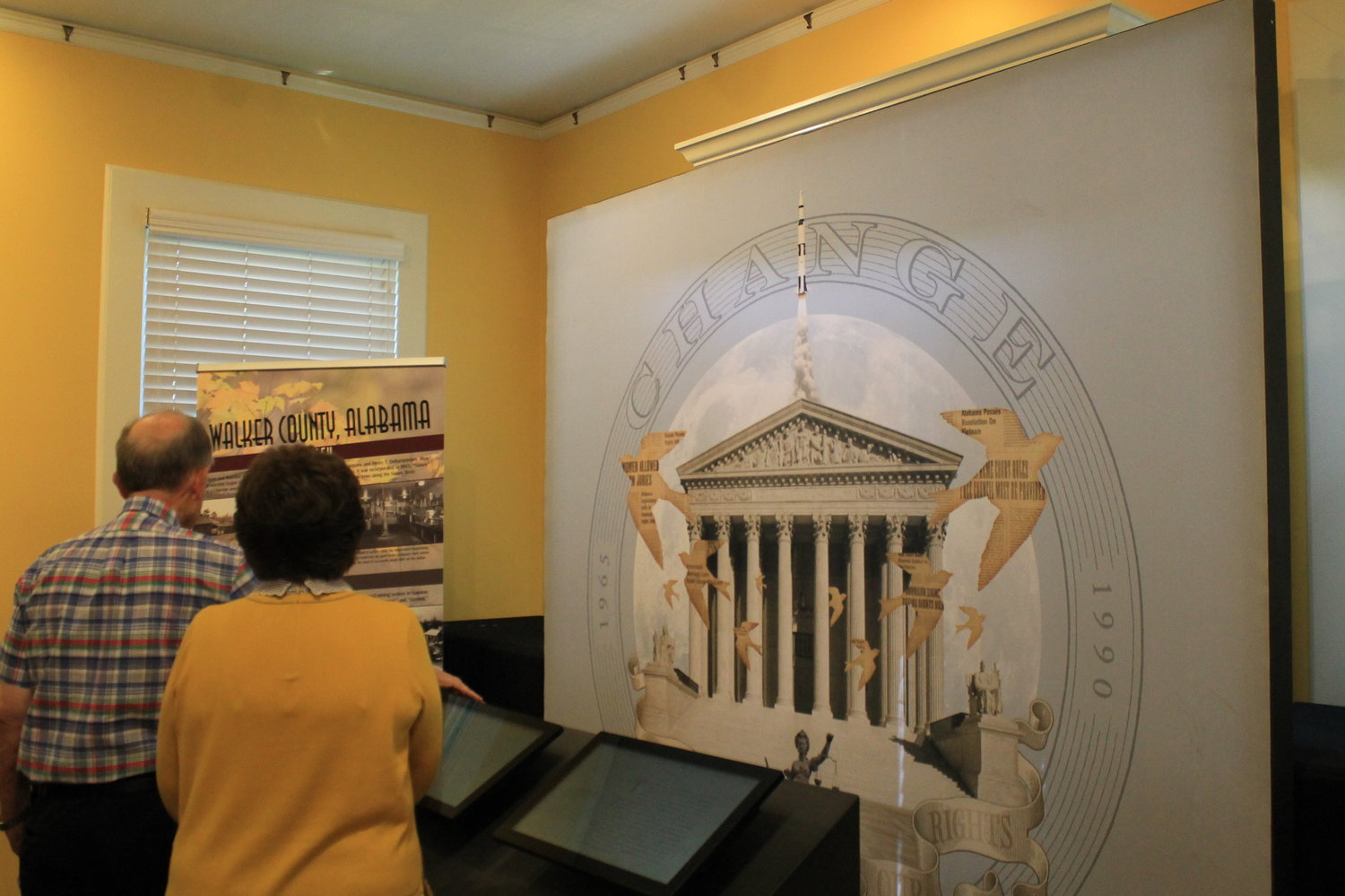 "State pride was on display at the reception for the ""Making Alabama: A Bicentennial Traveling Exhibit"" at the Bankhead House and Heritage Center on Tuesday.  The exhibit will remain in Jasper through Oct. 25."