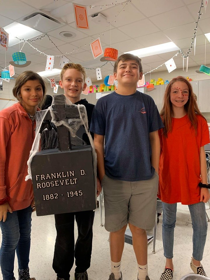 In the spirit of Halloween, Jasper Jr. High School students completed a graveyard project. Students used STEM (science, technology, engineering and mathematics) concepts to create tombstones that recognize important people in history.