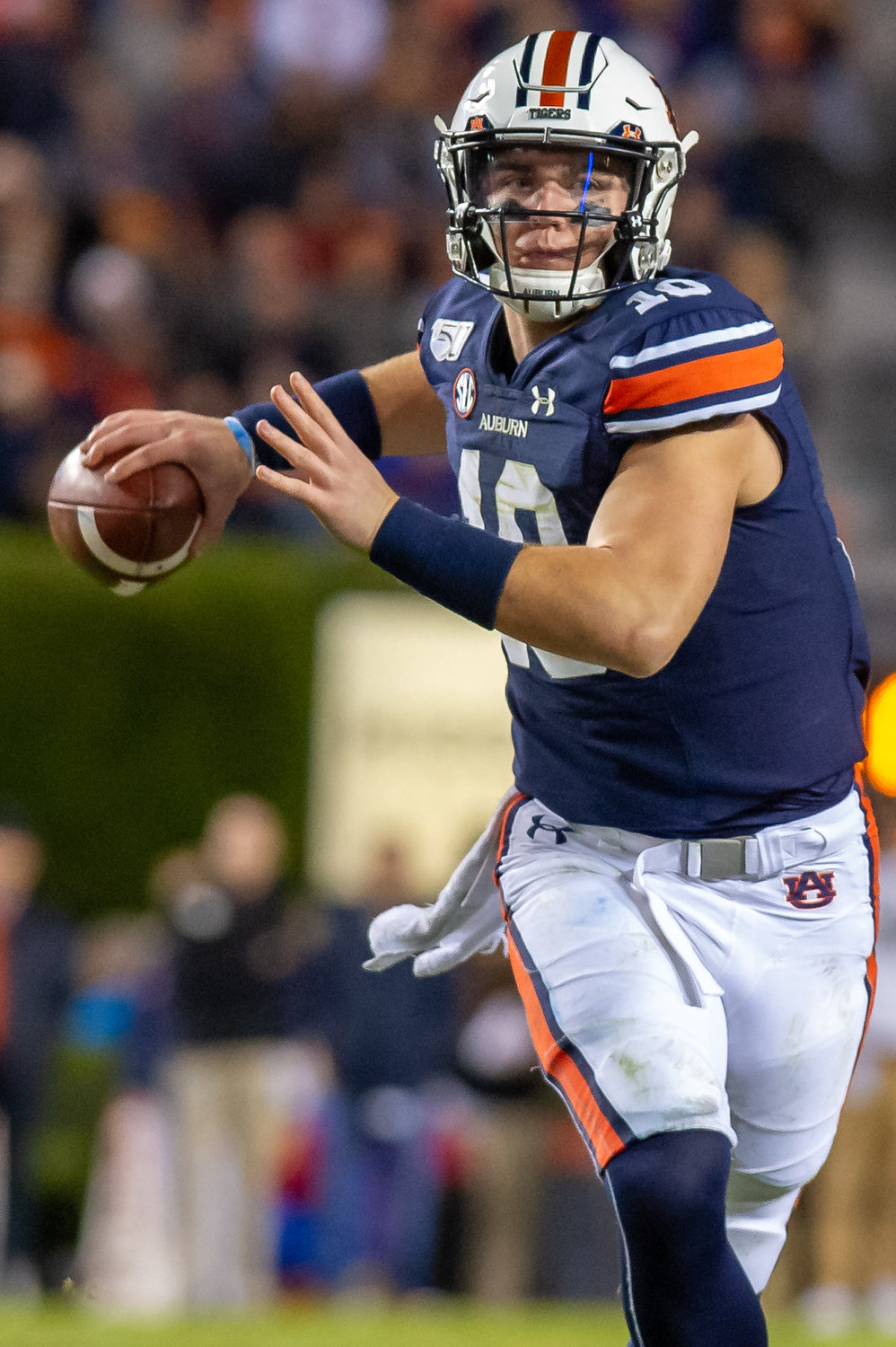 Auburn Tigers quarterback Bo Nix (10) throws during the second half of Saturday's game, at Jordan-Hare Stadium in Auburn. Nix completed 30 of 44 passes for 340 yards in the Tigers' 20-14 win.