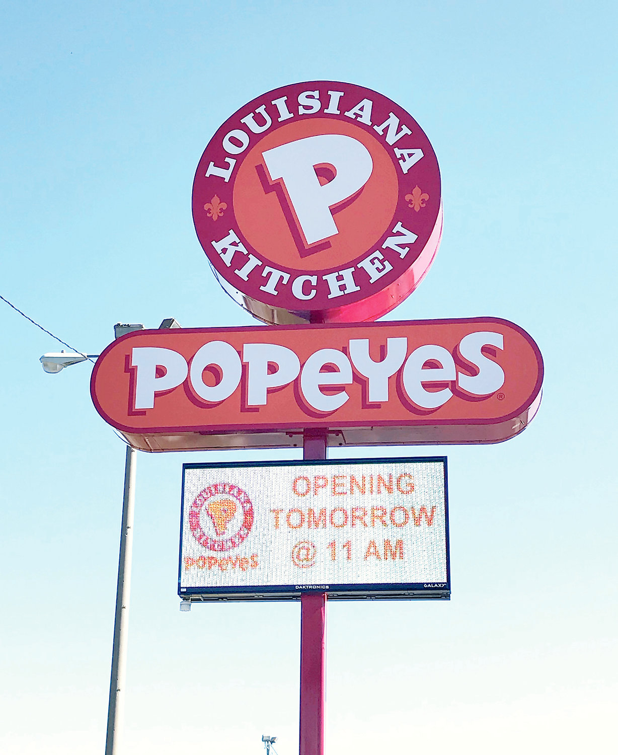 Jasper's restaurant scene is about to get spicy. A sign on Wednesday indicated that Popeyes Louisiana Kitchen will open for business today at 11 a.m. The new restaurant, located along Highway 78 East next to Full Moon Bar-B-Que, was announced in May and construction occurred over the summer.