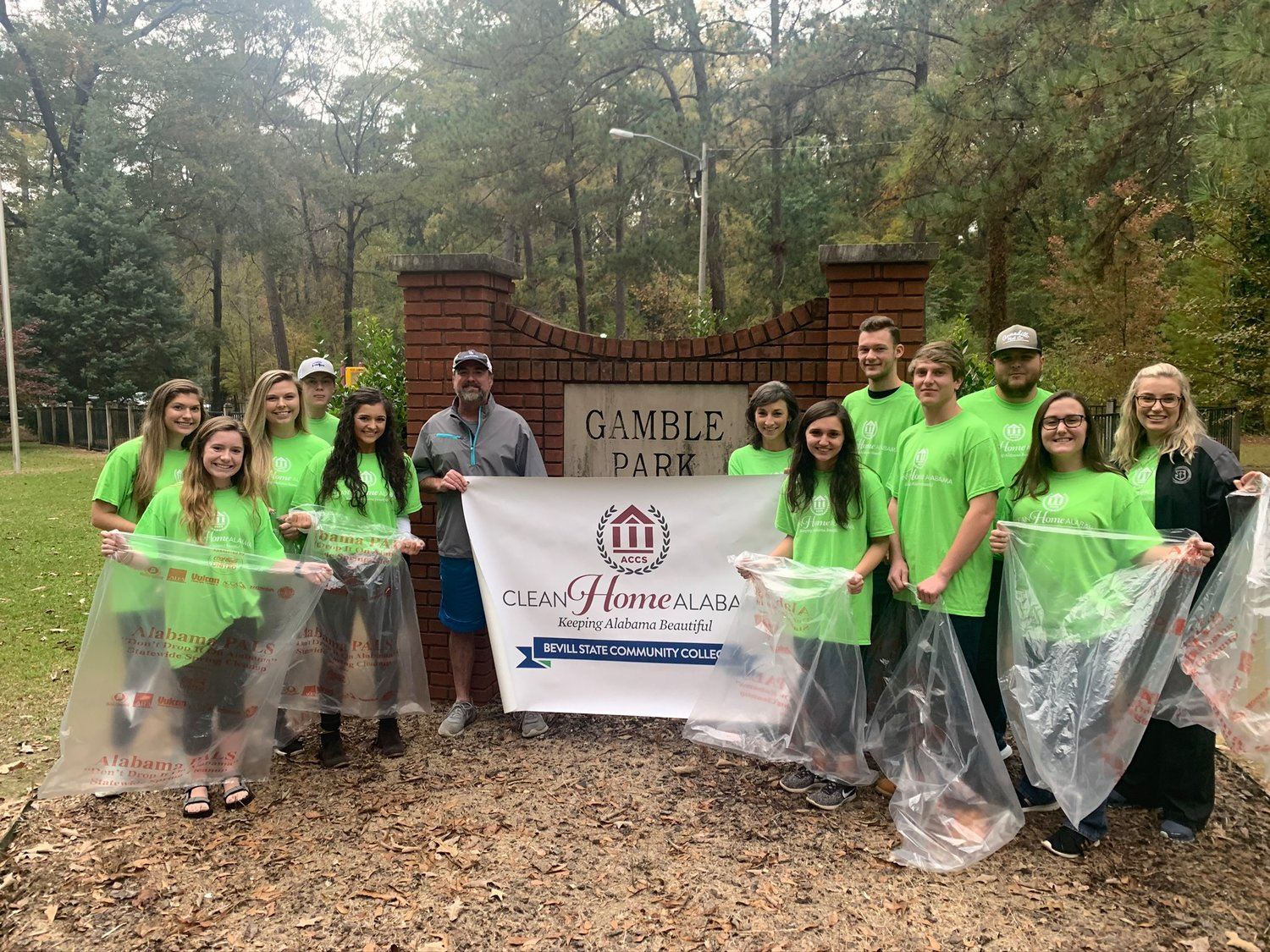 Bevill State Community College students, in cooperation with the City of Jasper, held a Clean Home Alabama cleanup on Thursday at Gamble Park. The college planned a similar cleanup in Sumiton.