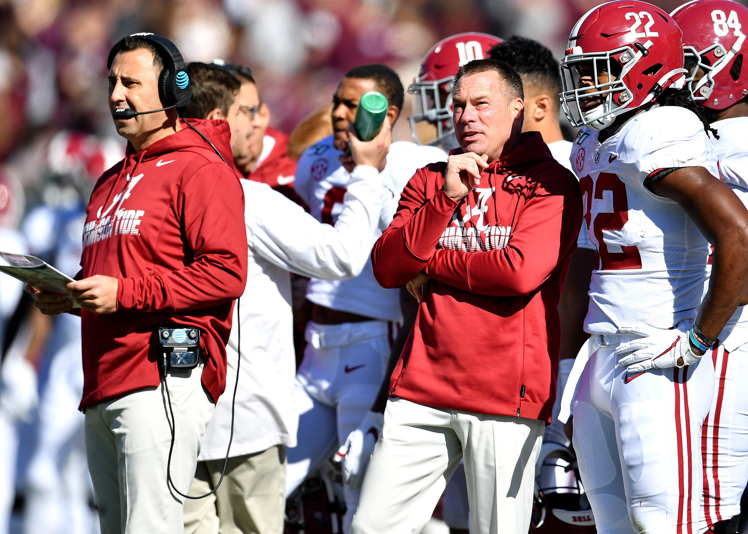 Alabama offensive coordinator Steve Sarkisian and analyst Butch Jones on the sidelines during the first half of an NCAA football game against Mississippi State Saturday, Nov. 16, 2019, at Davis Wade Stadium in Starkville, Miss.