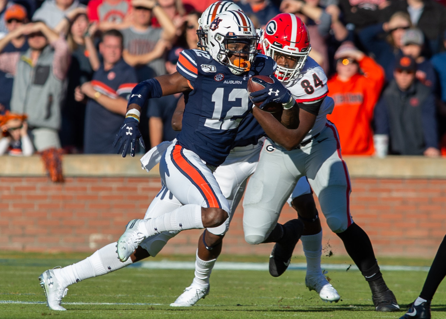 Auburn Tigers wide receiver Eli Stove (12) breaks free during the first half of Saturday's game, at Jordan-Hare Stadium in Auburn,, AL. Daily Mountain Eagle -  Jeff Johnsey