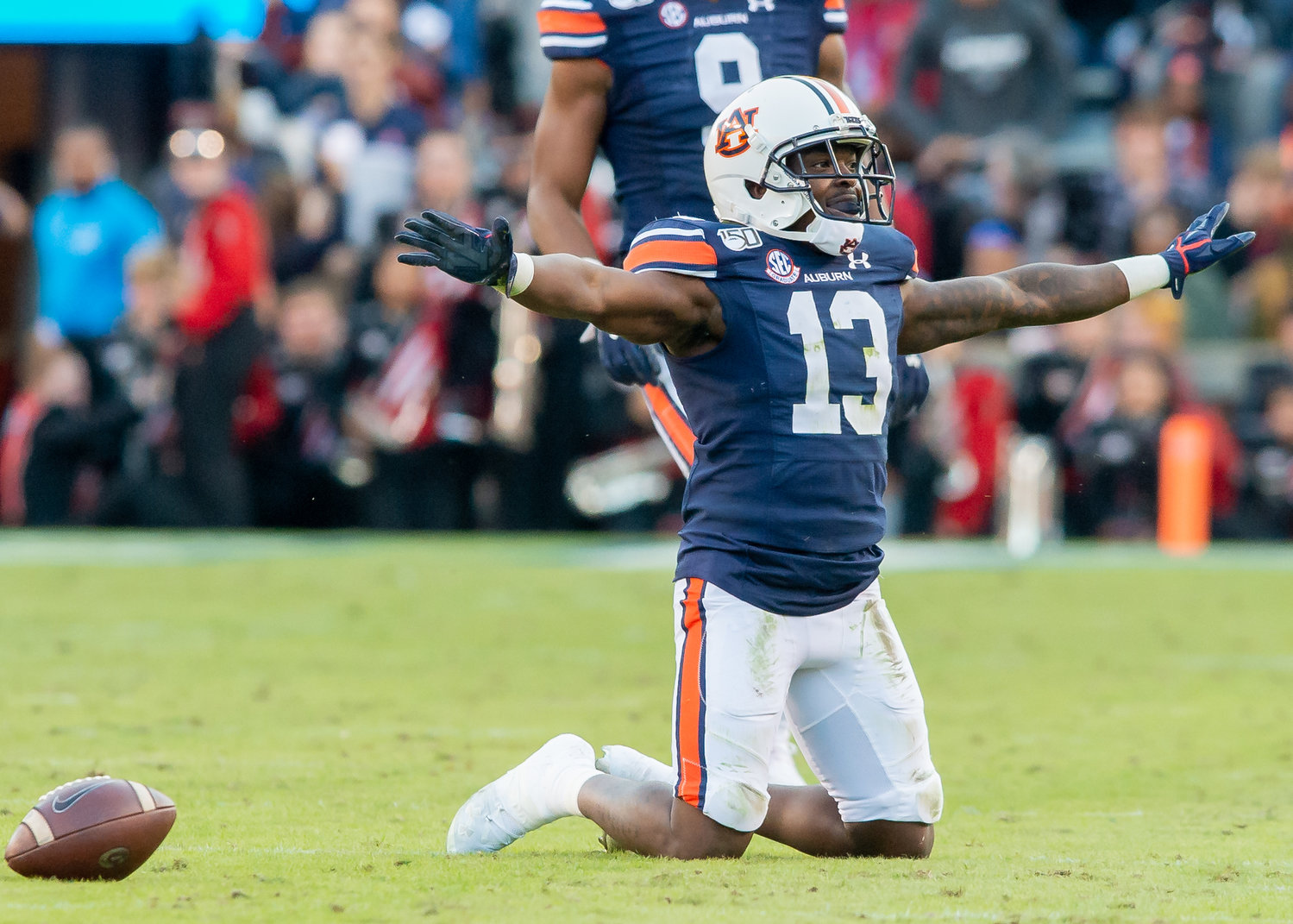 Auburn Tigers defensive back Javaris Davis (13) celebrate a pass break up during the first half of Saturday's game, at Jordan-Hare Stadium in Auburn,, AL. Daily Mountain Eagle -  Jeff Johnsey