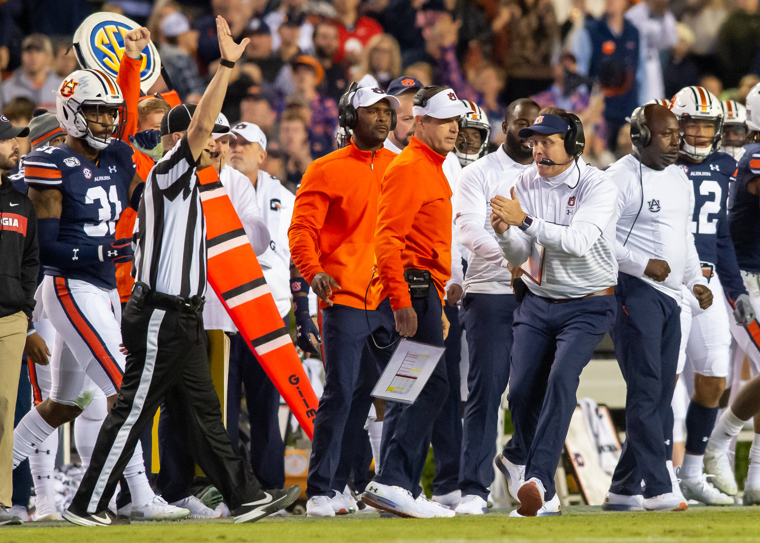 Auburn Tigers head coach Gus Malzahn calls timeout  during the fourth quarter of Saturday's game, at Jordan-Hare Stadium in Auburn,, AL. Daily Mountain Eagle -  Jeff Johnsey