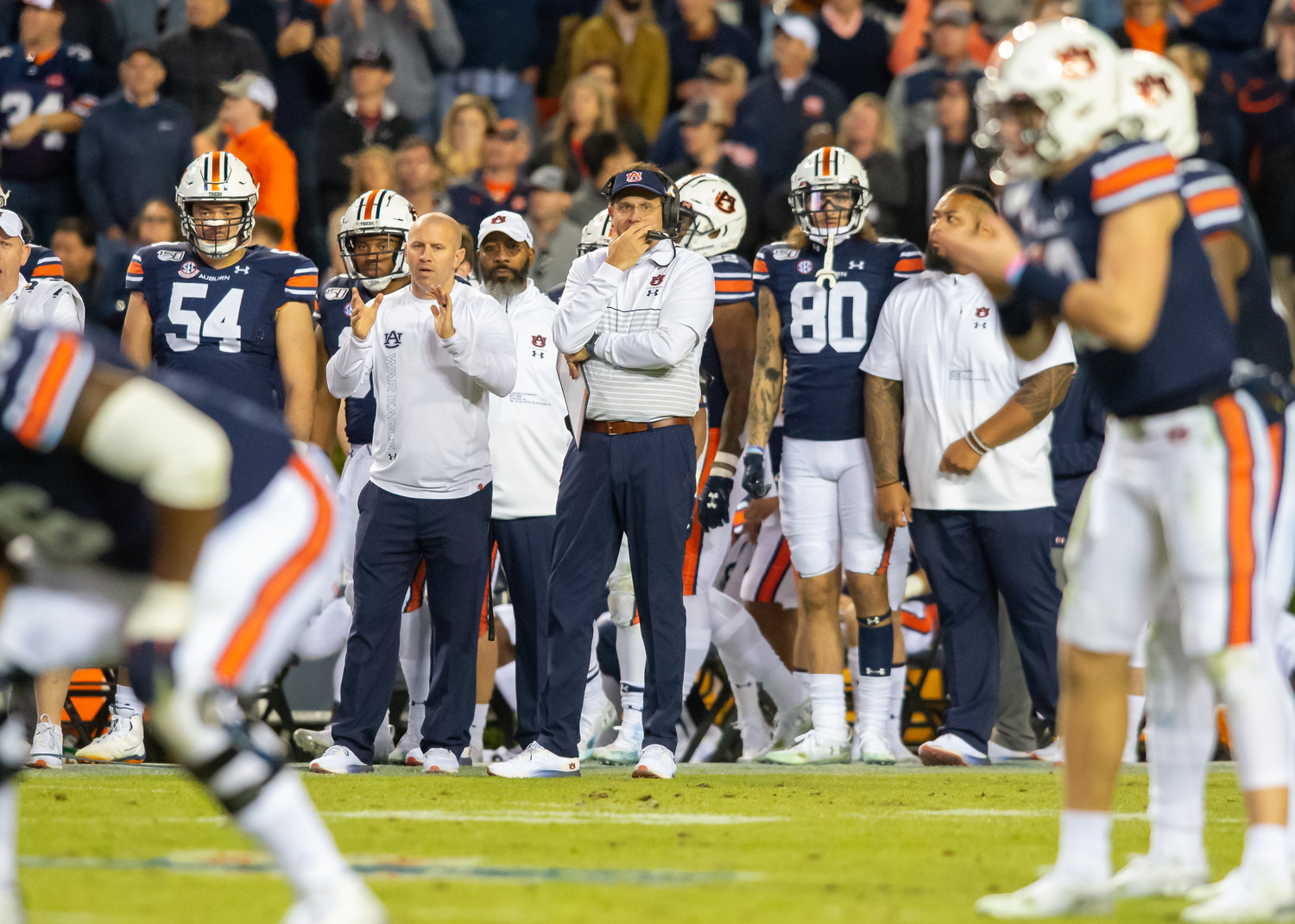 Auburn Tigers head coach Gus Malzahn and offensive coordinator Kenny Dillingham look on during the second half of Saturday's game, at Jordan-Hare Stadium in Auburn,, AL. Daily Mountain Eagle -  Jeff Johnsey