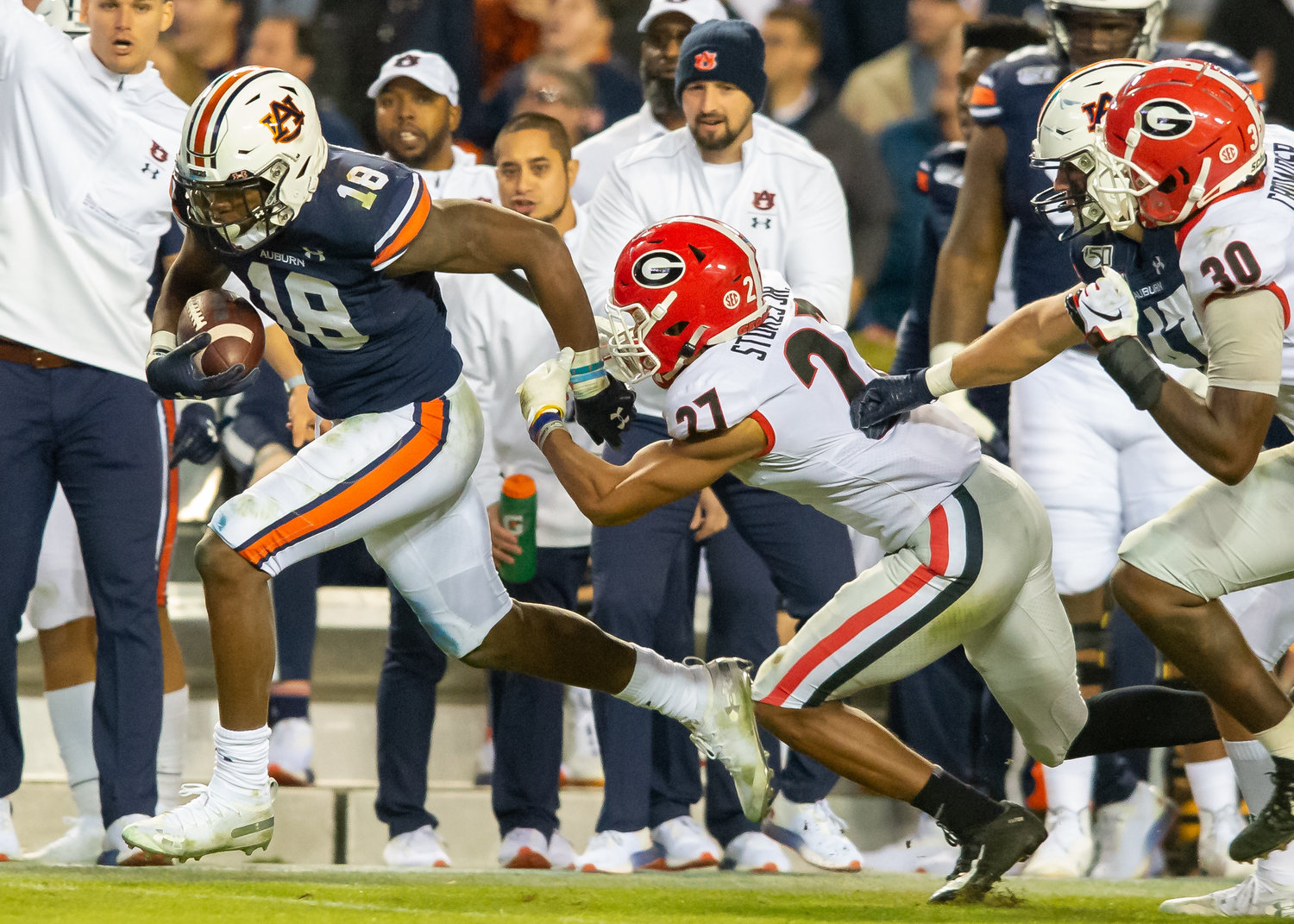 Auburn Tigers wide receiver Seth Williams (18) runs past Georgia Bulldogs defensive back Eric Stokes (27) during the second half of Saturday's game, at Jordan-Hare Stadium in Auburn,, AL. Daily Mountain Eagle -  Jeff Johnsey
