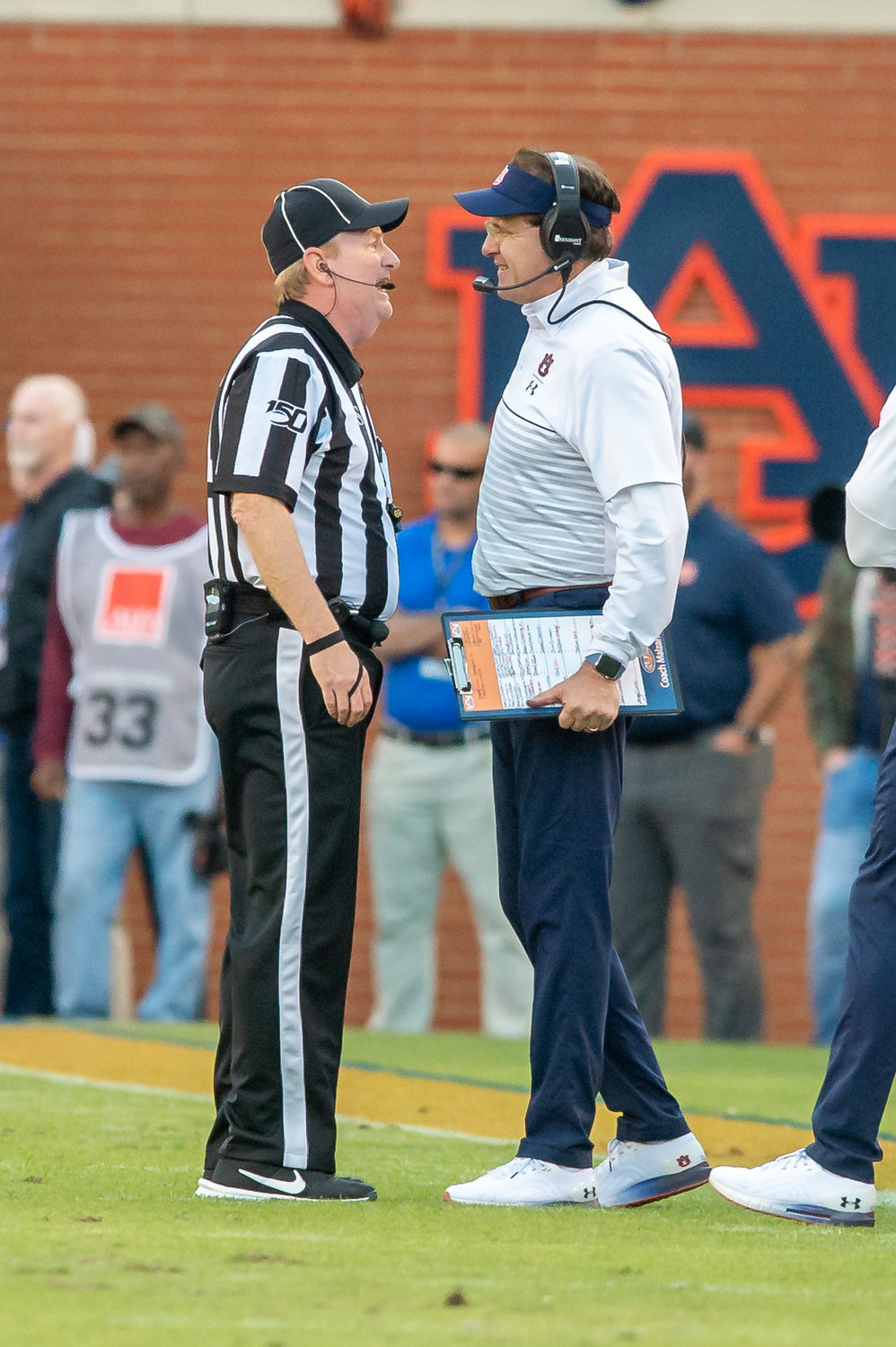 Auburn Tigers head coach Gus Malzahn discusses a call  during the first half of Saturday's game, at Jordan-Hare Stadium in Auburn,, AL. Daily Mountain Eagle -  Jeff Johnsey