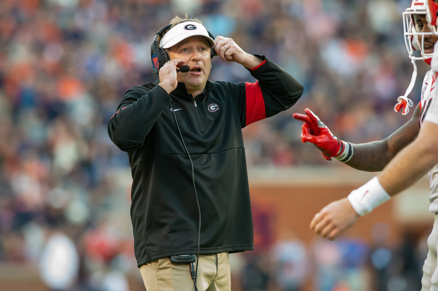 Georgia Bulldogs head coach Kirby Smart during the first half of Saturday's game, at Jordan-Hare Stadium in Auburn,, AL. Daily Mountain Eagle -  Jeff Johnsey