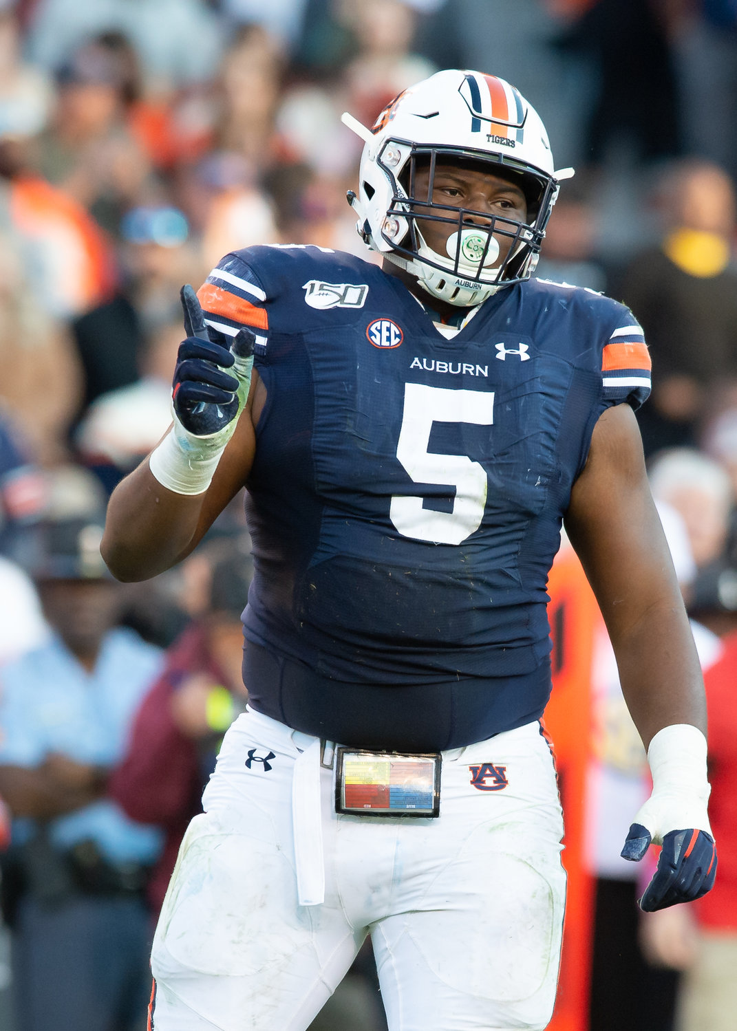 Auburn Tigers defensive tackle Derrick Brown (5) celebrates during the first half of Saturday's game, at Jordan-Hare Stadium in Auburn,, AL. Daily Mountain Eagle -  Jeff Johnsey