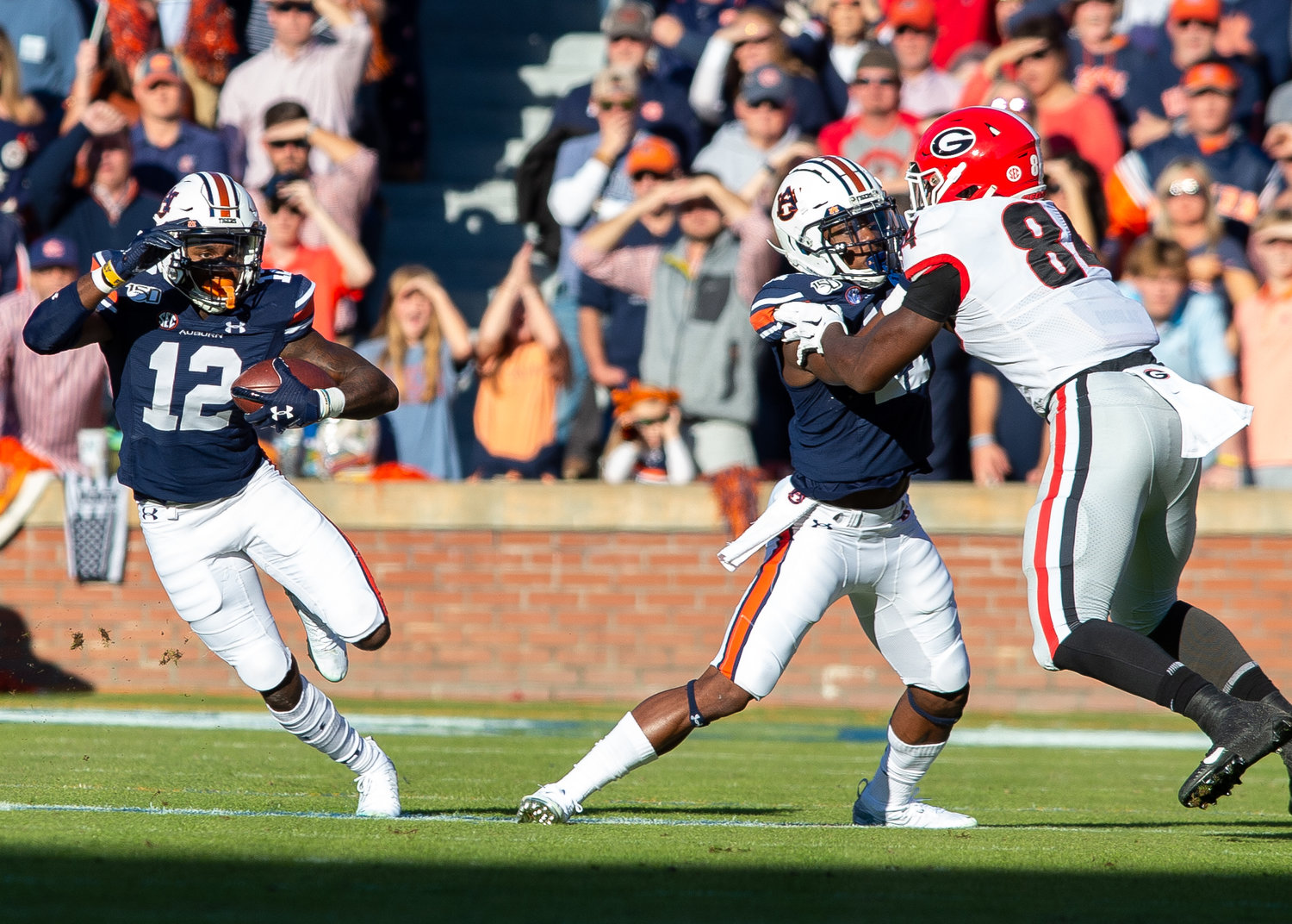 Auburn Tigers wide receiver Eli Stove (12) runs during the first half of Saturday's game, at Jordan-Hare Stadium in Auburn,, AL. Daily Mountain Eagle -  Jeff Johnsey