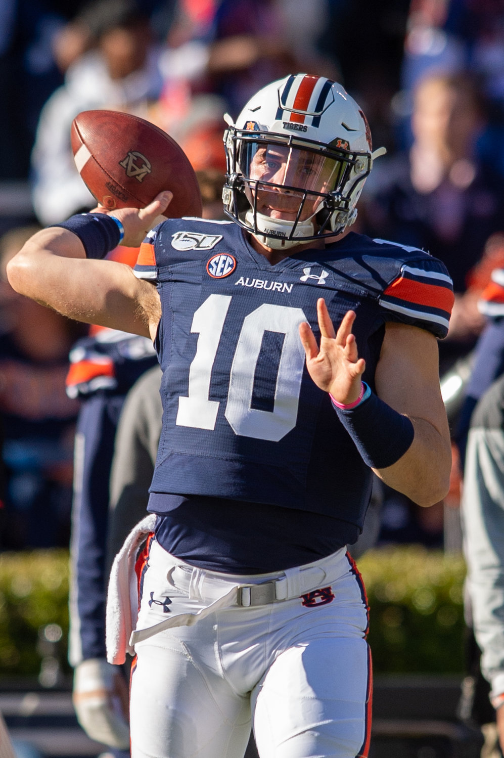 Auburn Tigers quarterback Bo Nix (10) warms up before Saturday's game against Georgia, at Jordan-Hare Stadium in Auburn,, AL. Daily Mountain Eagle -  Jeff Johnsey