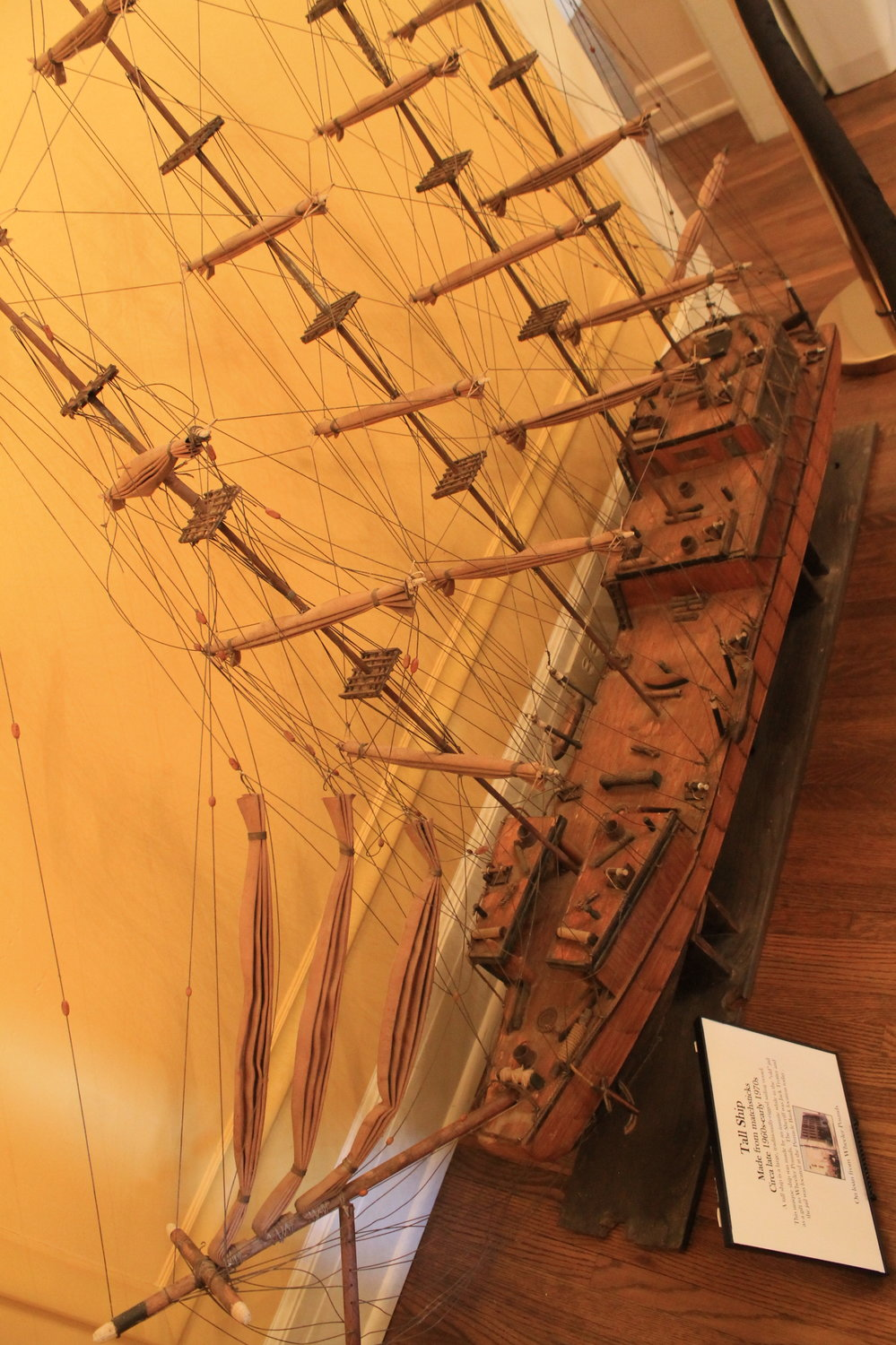 "Several pieces in the ""Art on the Inside"" exhibit are on loan from locals. One is this ship, made from matchsticks by an inmate at the old Walker County Jail in the 1960s or '70s."