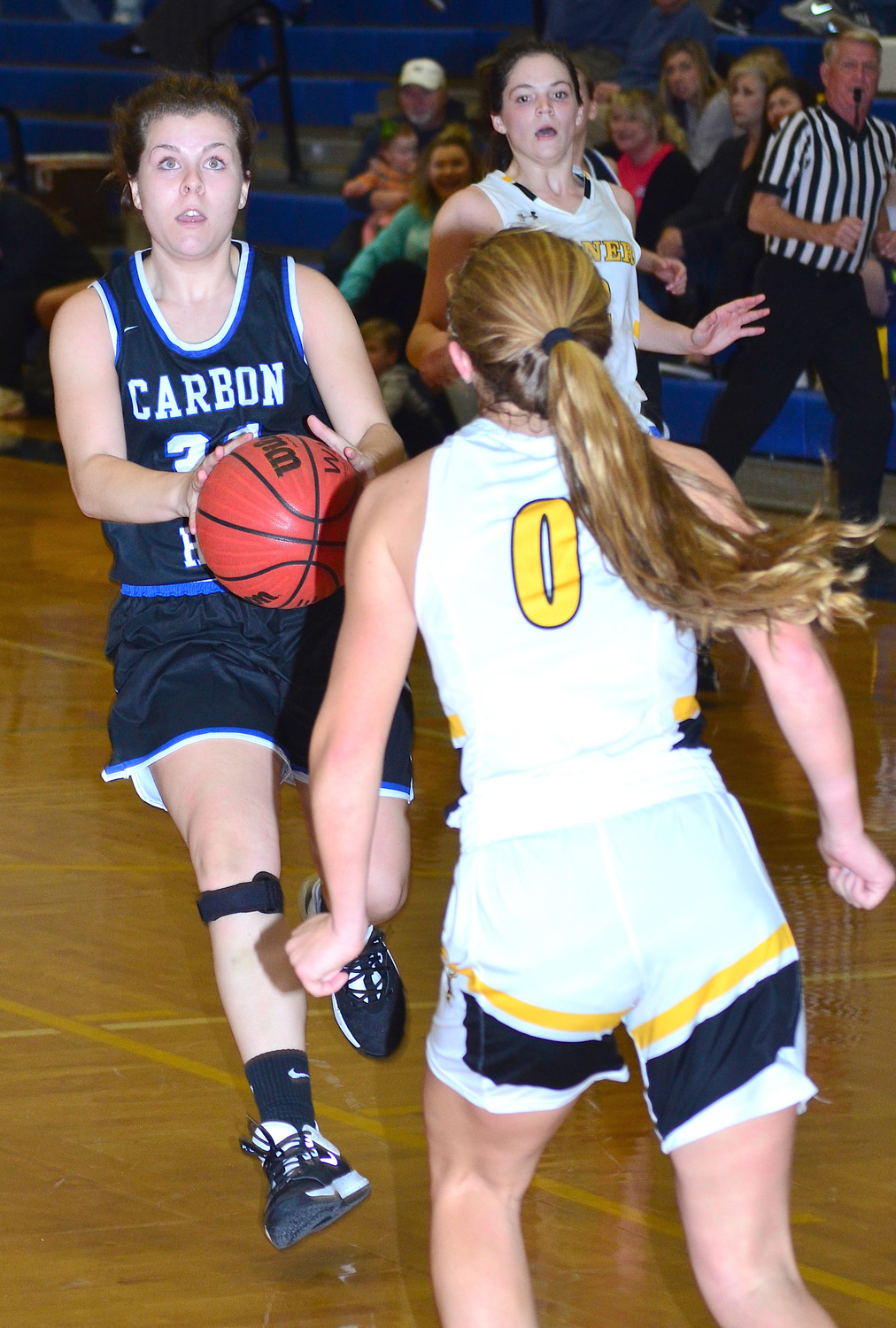 Carbon Hill's Zana Aderholt (34) looks to shoot against Corner during the Curry girls Thanksgiving Tournament on Monday. The Bulldogs won 41-40.