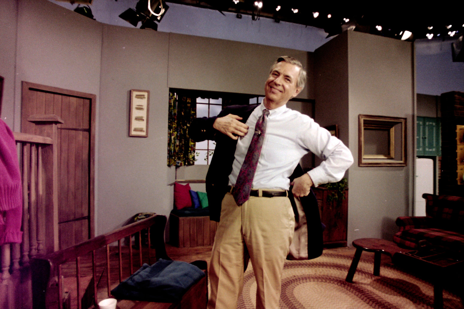 This June 8, 1993 file photo shows Fred Rogers between takes on the set of his television program Mr. Rogers' Neighborhood in Pittsburgh. (AP Photo/Gene J. Puskar)