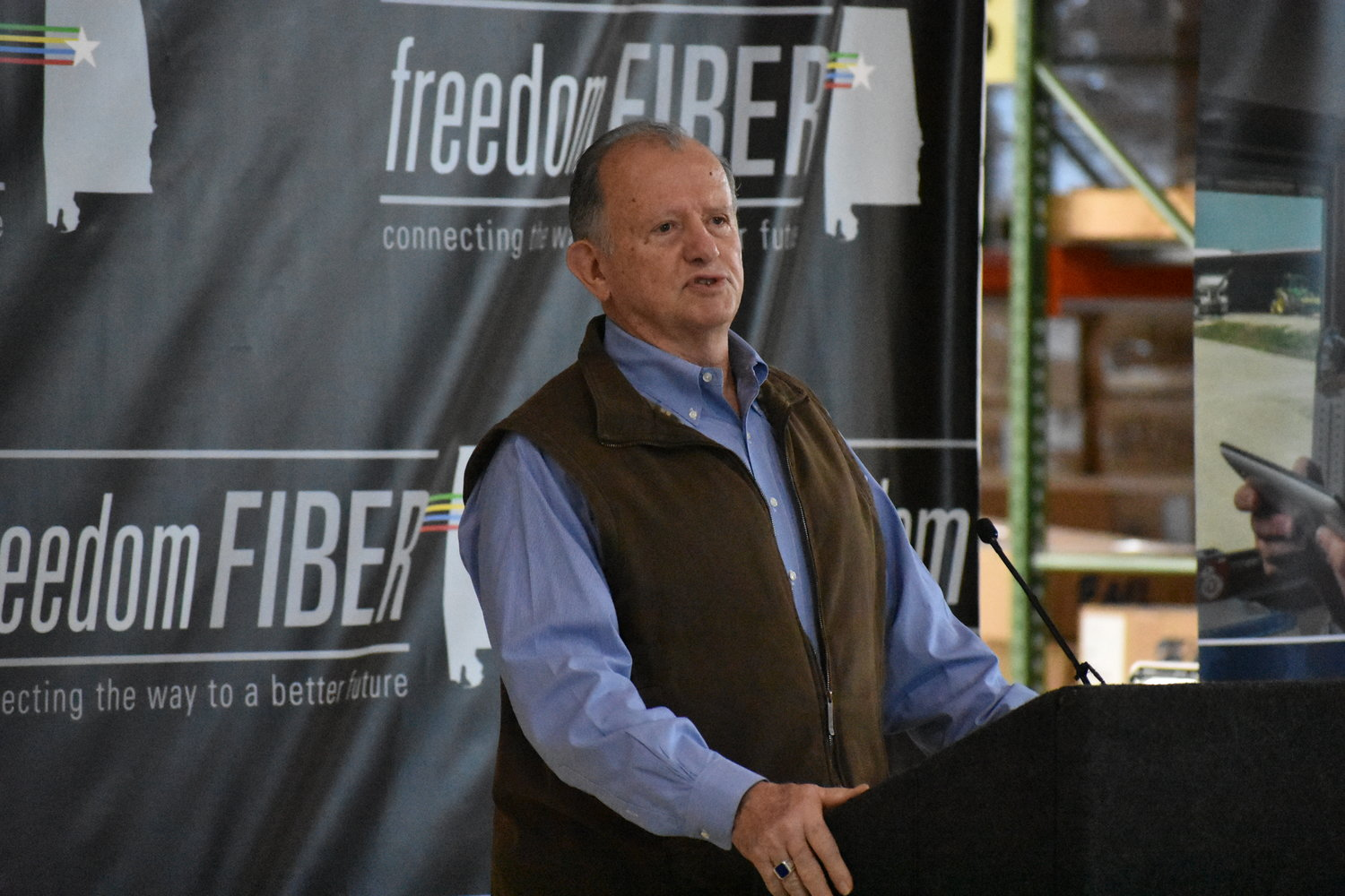 "Donald ""DJ"" LaVoy, Deputy Undersecretary of Rural Development at the USDA, speaks in Hamilton Thursday at the announcement of expansion of Tombigbee Electrical Cooperative's broadband service in area counties, thanks to federal grant and loans."