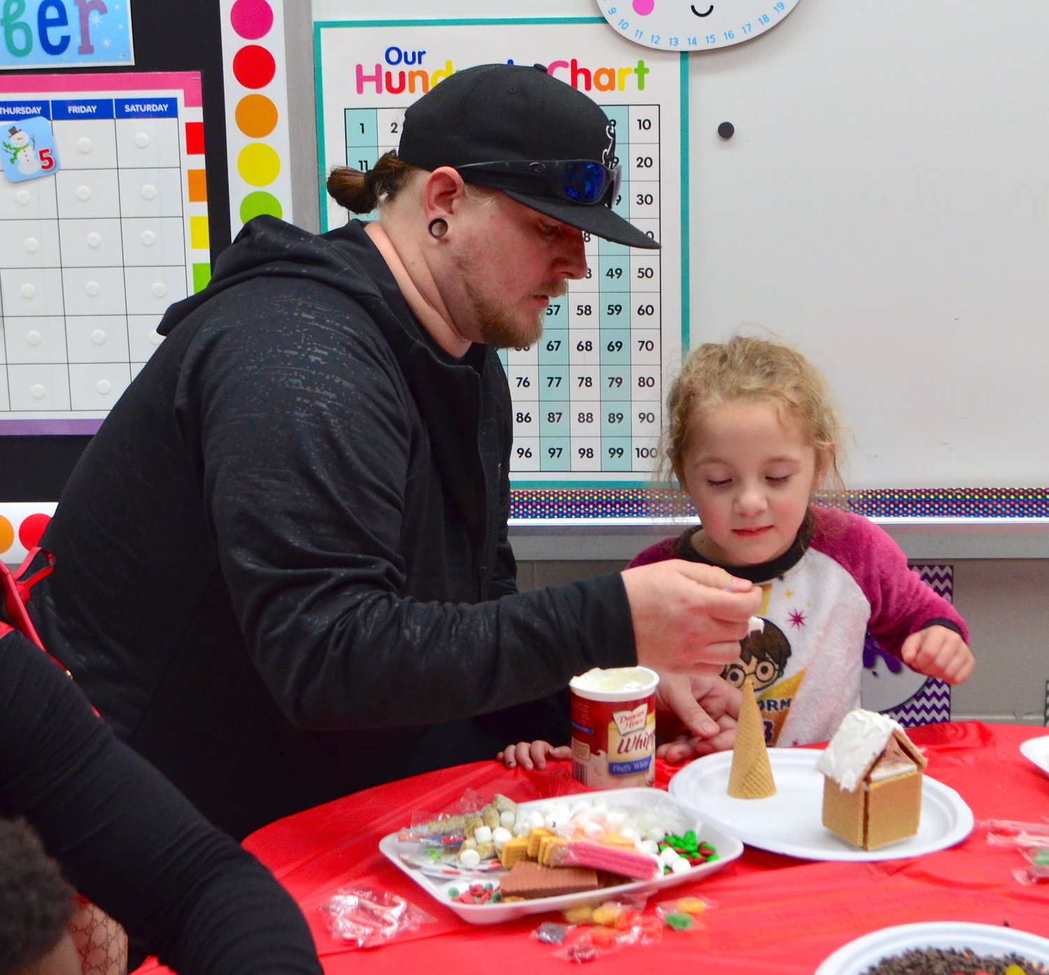Ahead of the Christmas holiday, kindergarten students at T.R. Simmons Elementary School decorated gingerbread houses on Thursday with the help of their parents and teachers. Kindergartners also made candy Christmas trees. Decorating gingerbread houses in an annual tradition for kindergarten students to enjoy at the school.