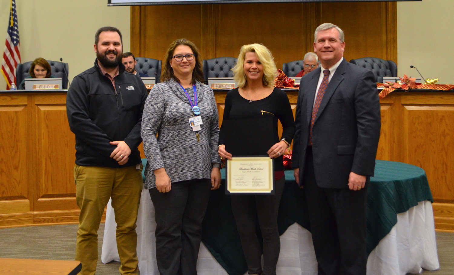 Bankhead Middle School was recognized at a recent meeting of the Walker County Board of Education for receiving STEM certification.