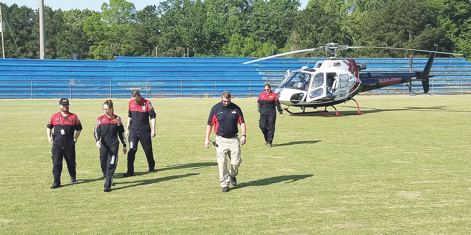 The crew of Regional Air Medical Services visited Curry Elementary School in April 2019.