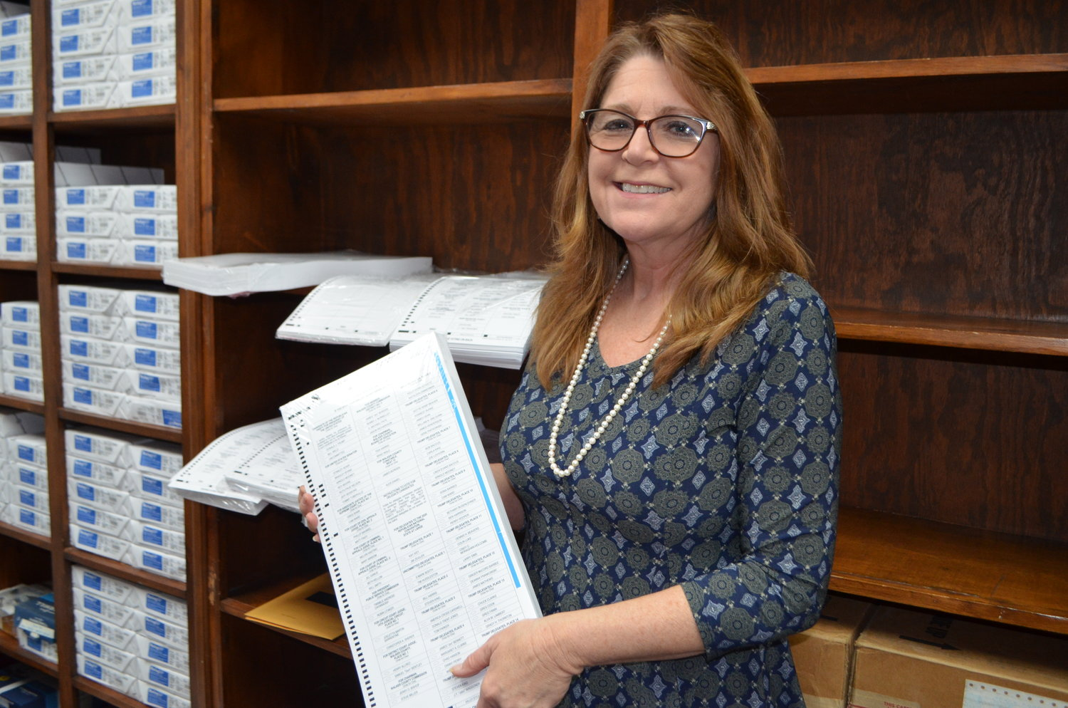 Walker County Circuit Clerk Susan Odom shows off the printed absentee ballots now on hand at her office to use, starting Tuesday.